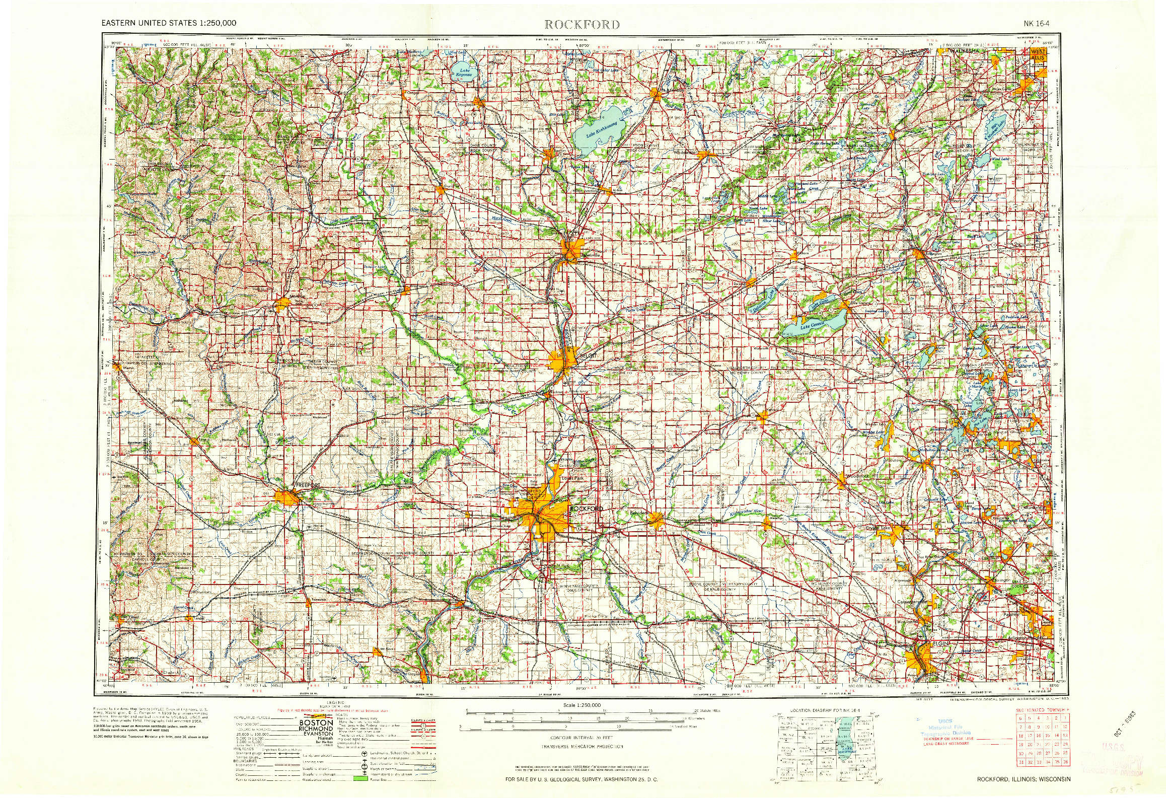 USGS 1:250000-SCALE QUADRANGLE FOR ROCKFORD, IL 1963