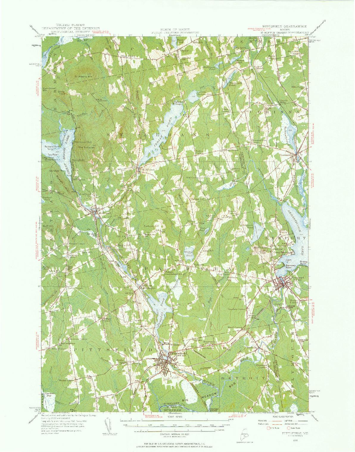 USGS 1:62500-SCALE QUADRANGLE FOR PITTSFIELD, ME 1955