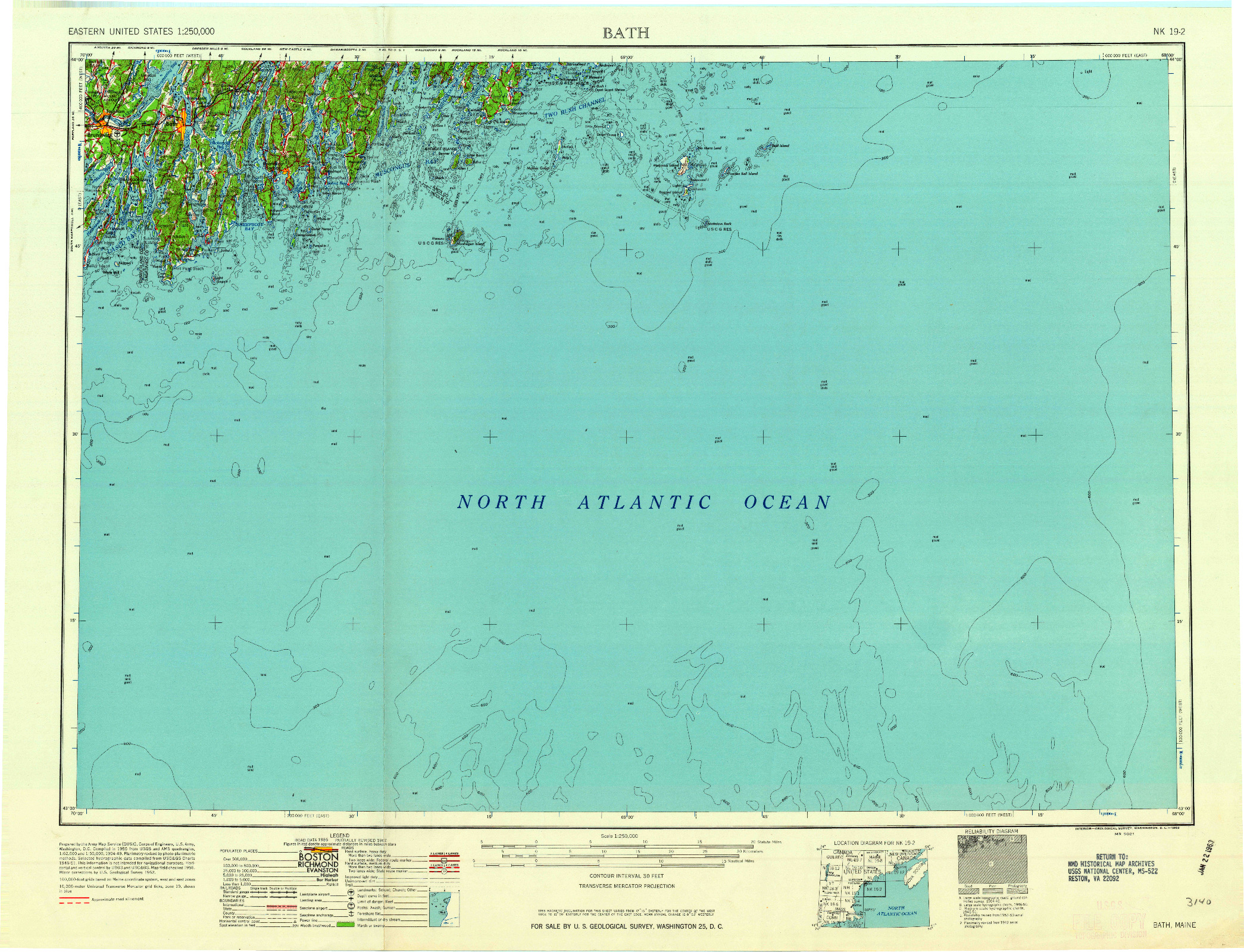 USGS 1:250000-SCALE QUADRANGLE FOR BATH, ME 1963