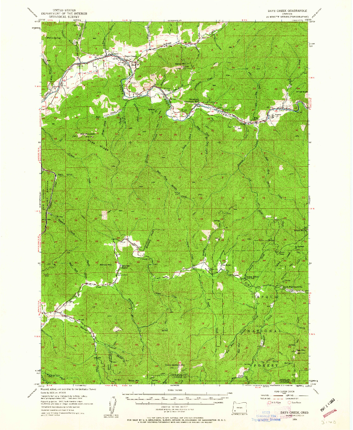 USGS 1:62500-SCALE QUADRANGLE FOR DAYS CREEK, OR 1954