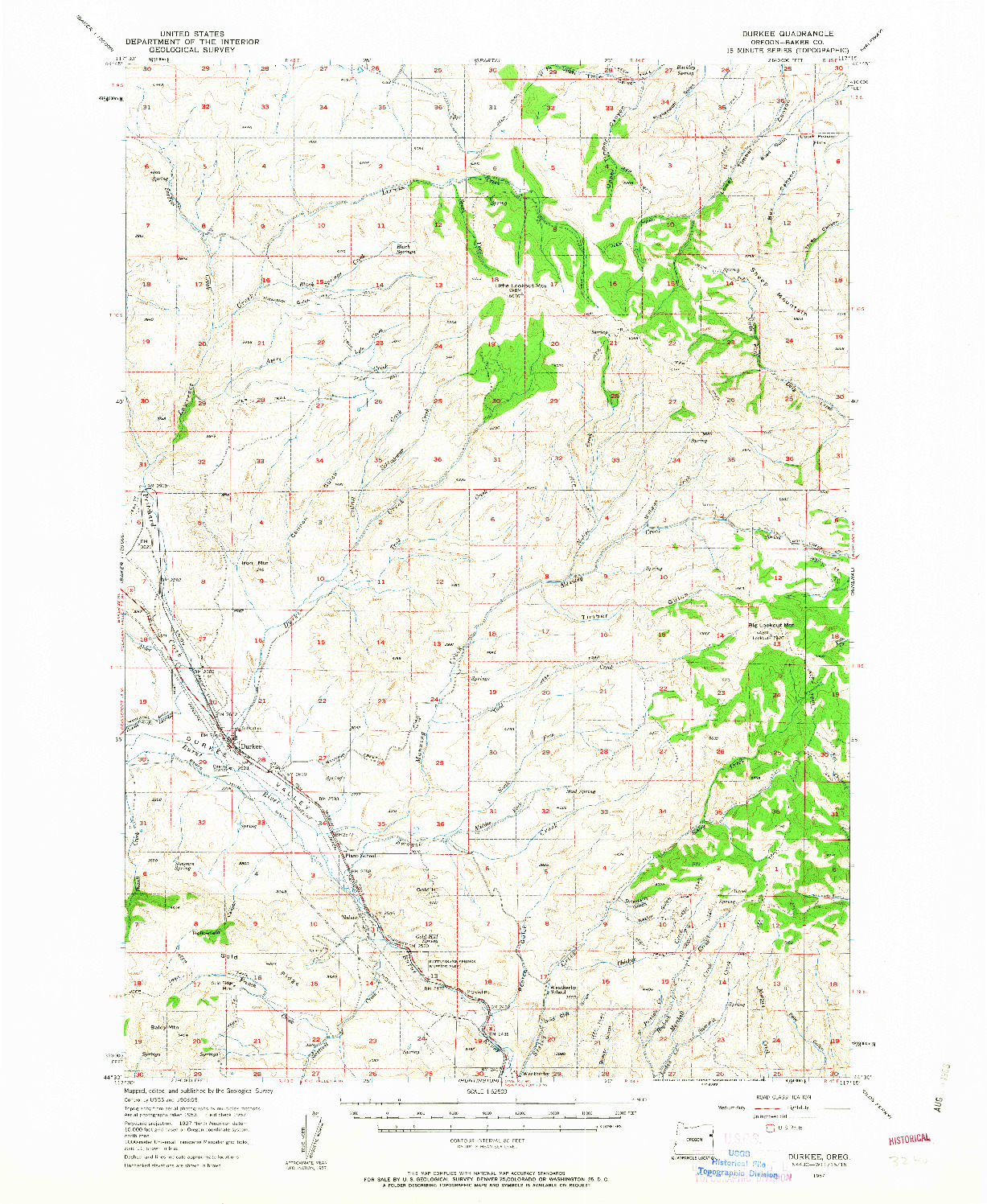 USGS 1:62500-SCALE QUADRANGLE FOR DURKEE, OR 1957