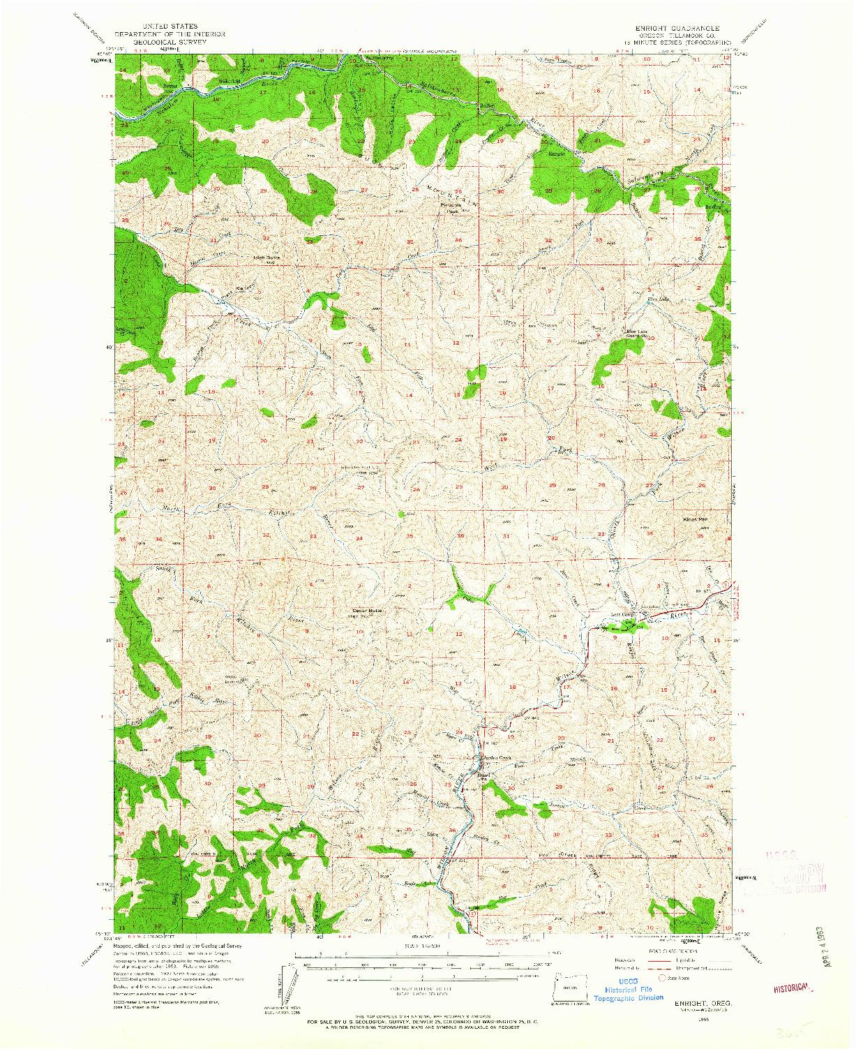 USGS 1:62500-SCALE QUADRANGLE FOR ENRIGHT, OR 1955