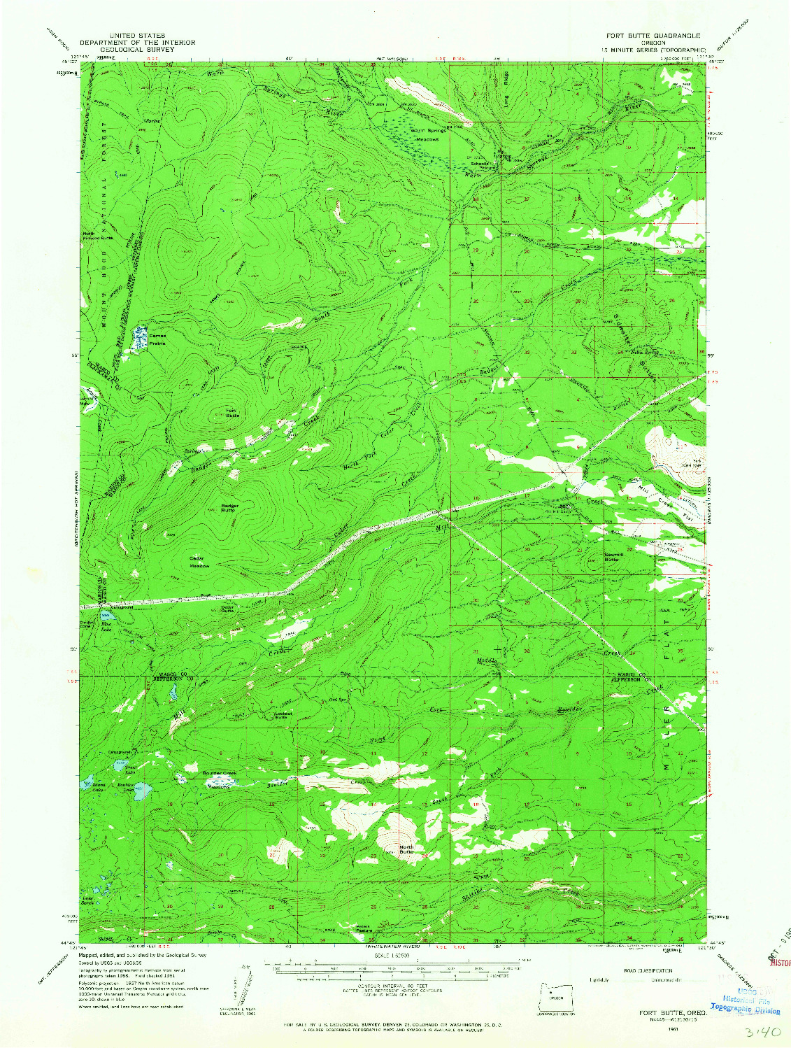 USGS 1:62500-SCALE QUADRANGLE FOR FORT BUTTE, OR 1961
