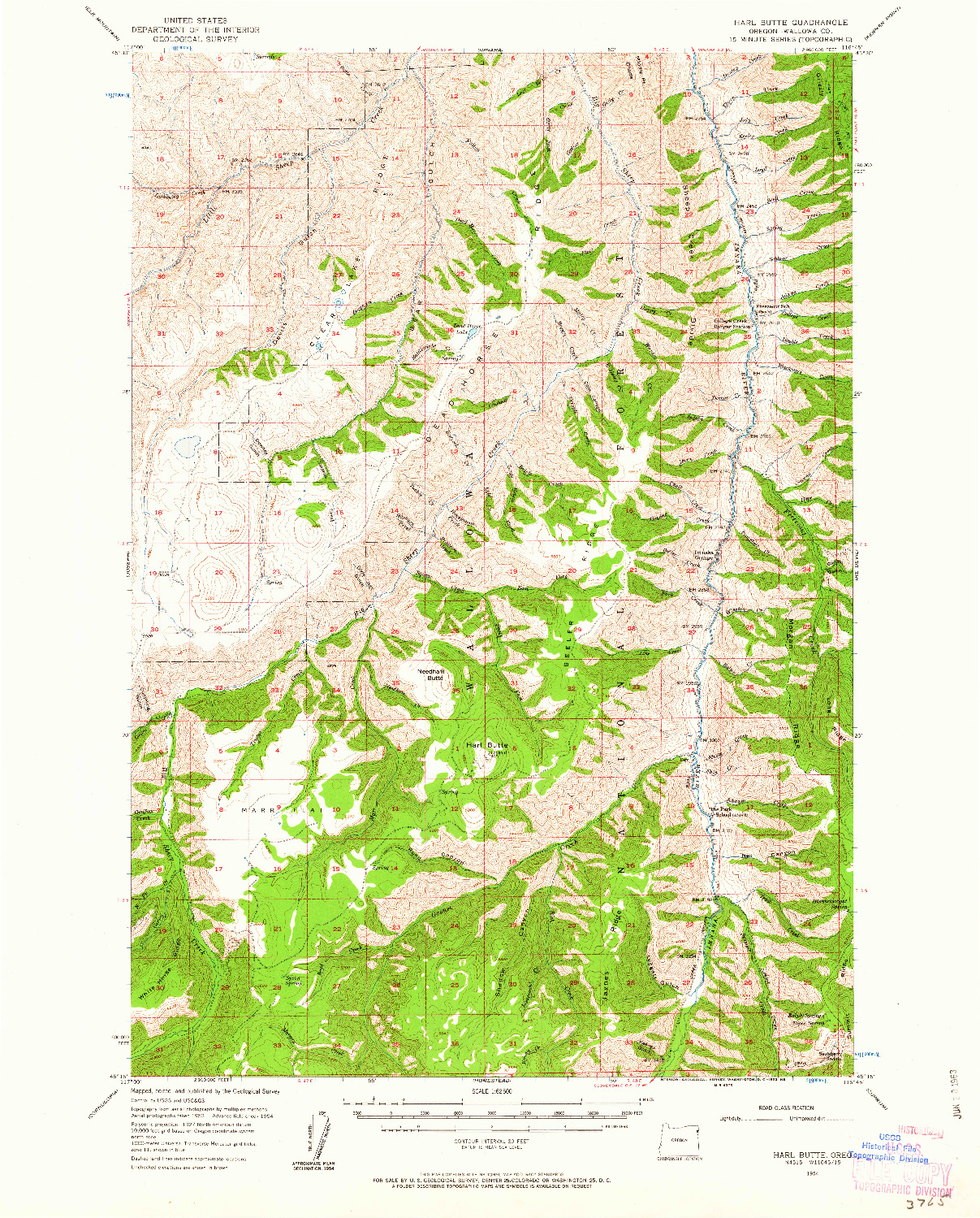 USGS 1:62500-SCALE QUADRANGLE FOR HARL BUTTE, OR 1954