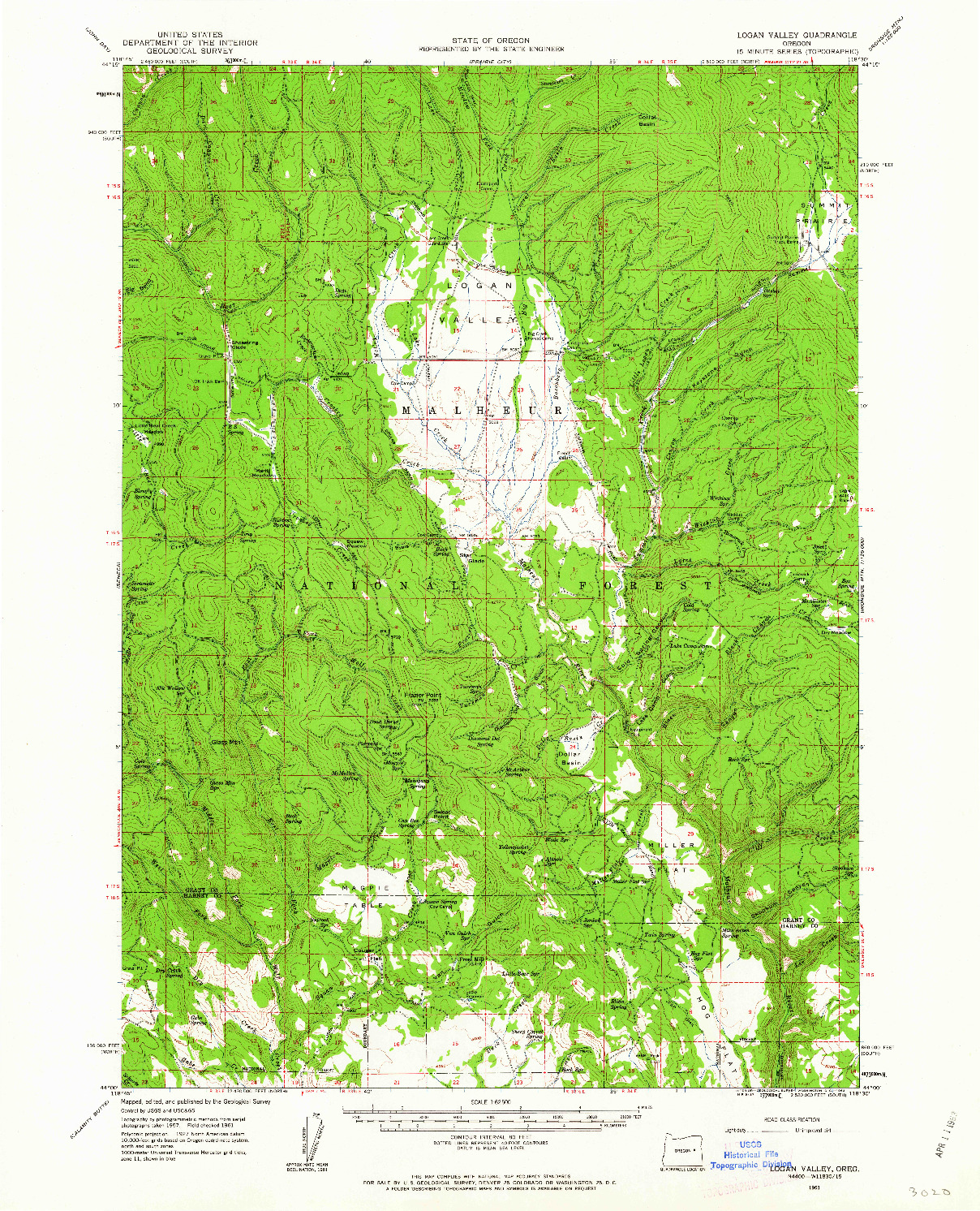 USGS 1:62500-SCALE QUADRANGLE FOR LOGAN VALLEY, OR 1961