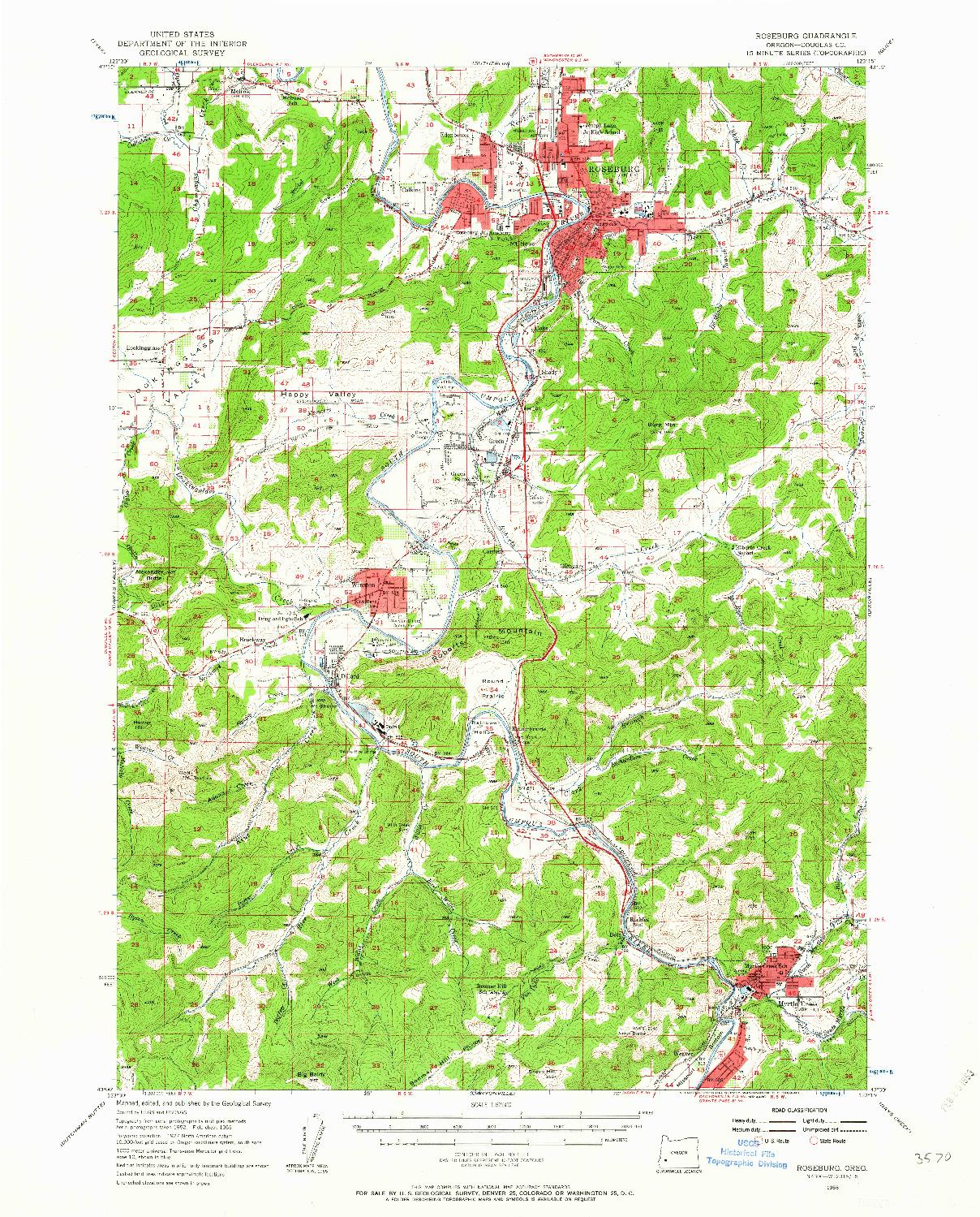 USGS 1:62500-SCALE QUADRANGLE FOR ROSEBURG, OR 1955