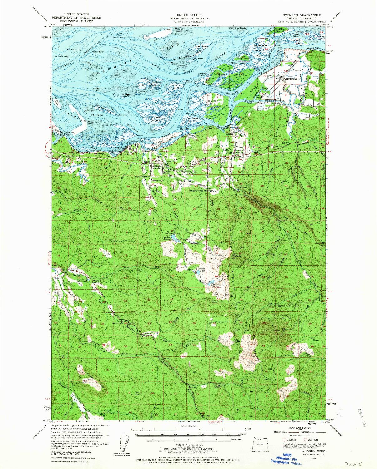 USGS 1:62500-SCALE QUADRANGLE FOR SVENSEN, OR 1955