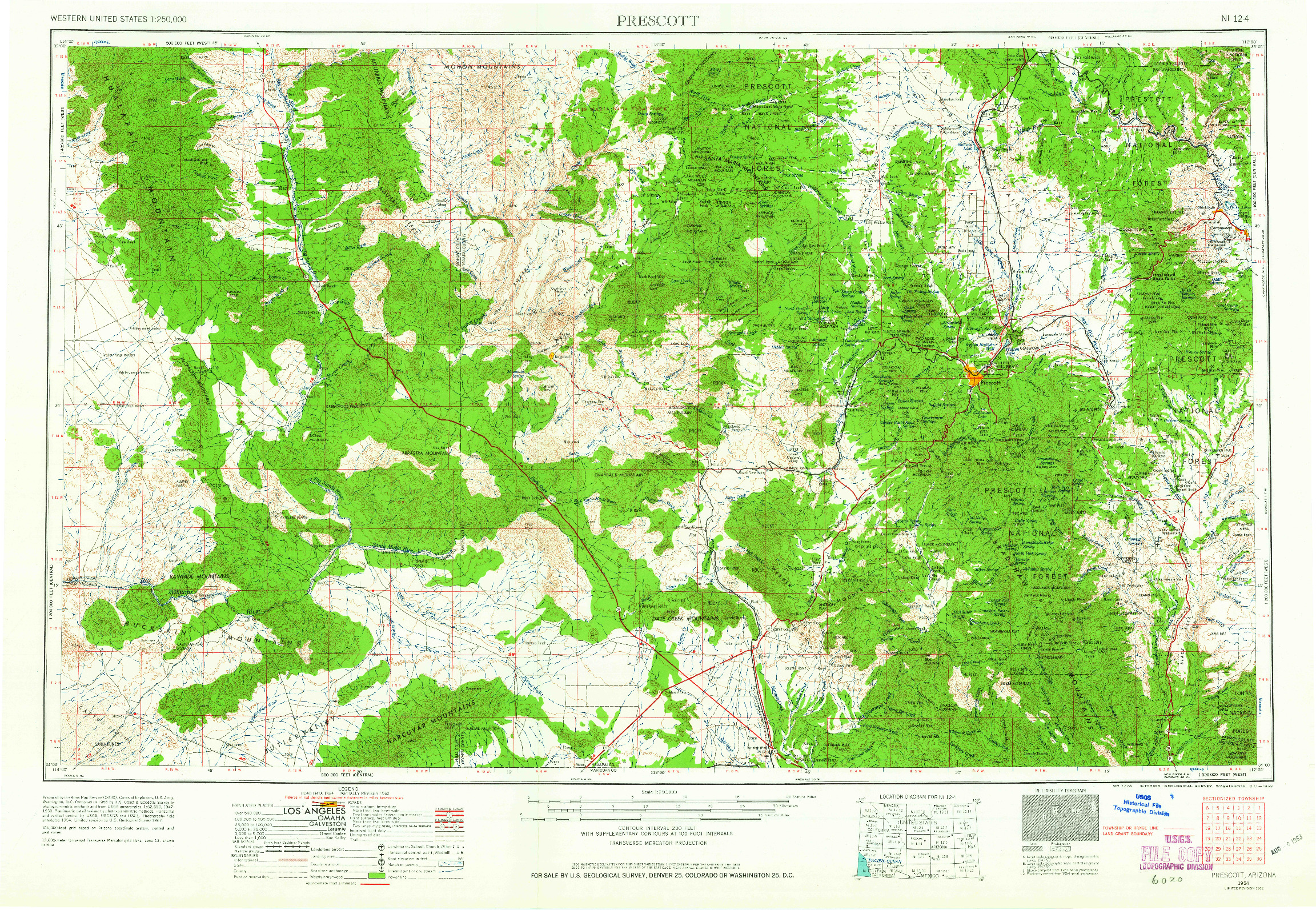USGS 1:250000-SCALE QUADRANGLE FOR PRESCOTT, AZ 1954