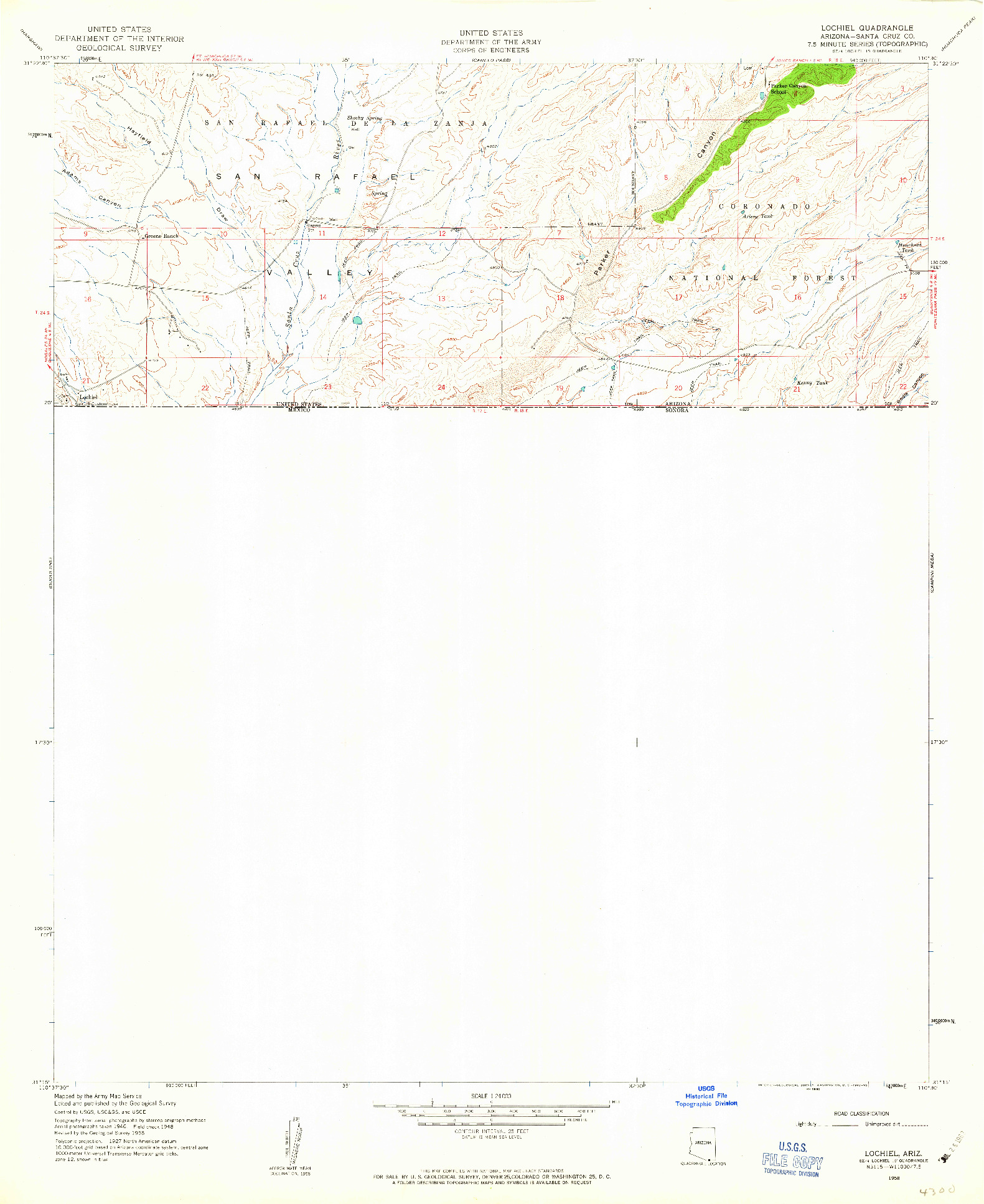 USGS 1:24000-SCALE QUADRANGLE FOR LOCHIEL, AZ 1958