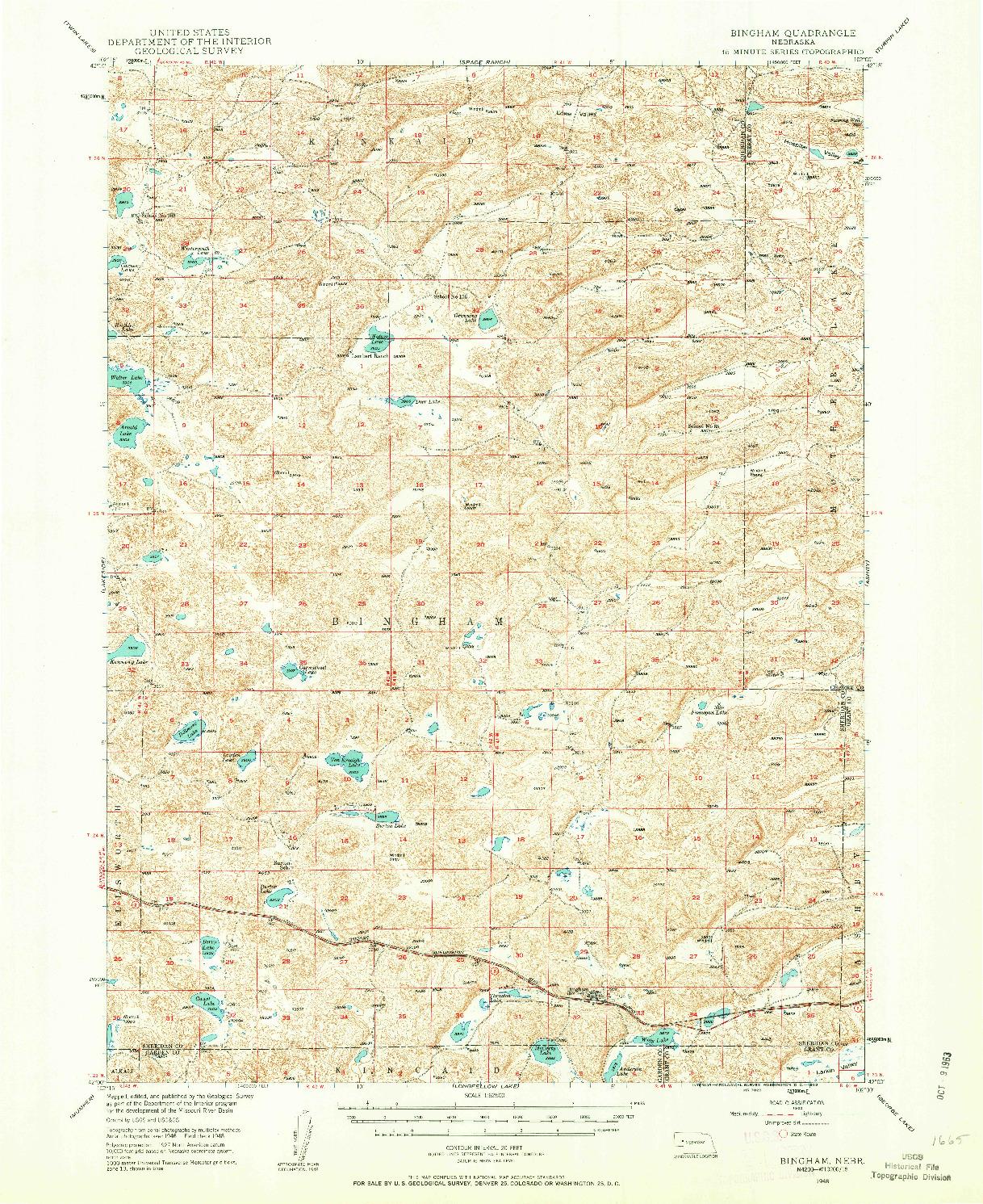 USGS 1:62500-SCALE QUADRANGLE FOR BINGHAM, NE 1948