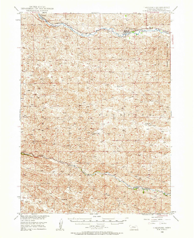 USGS 1:62500-SCALE QUADRANGLE FOR THEDFORD, NE 1948