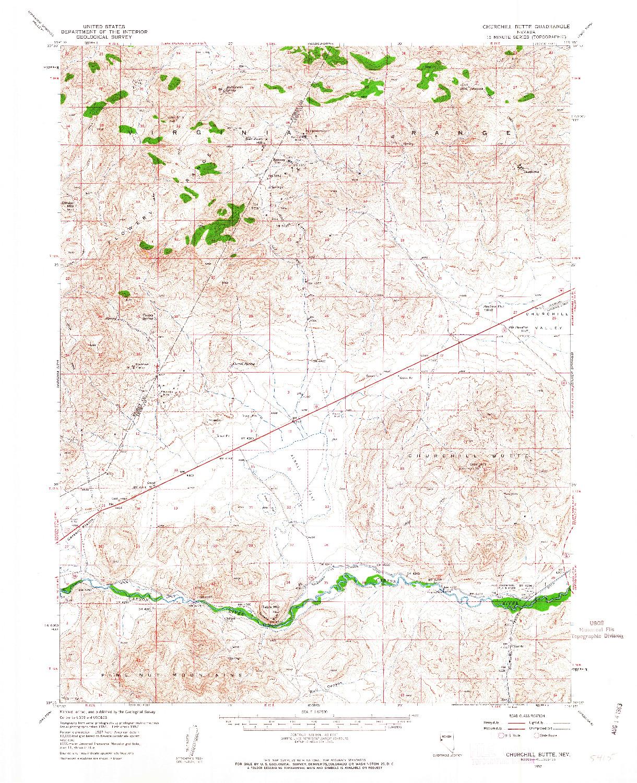 USGS 1:62500-SCALE QUADRANGLE FOR CHURCHILL BUTTE, NV 1957