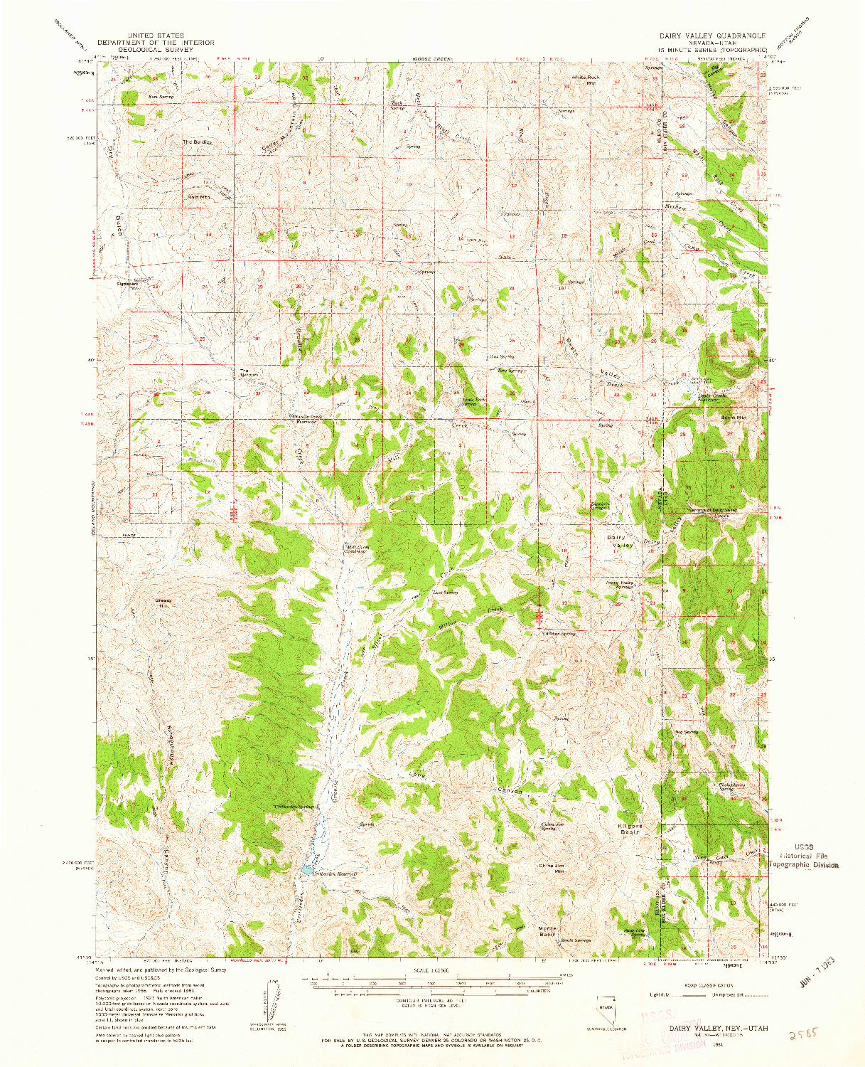 USGS 1:62500-SCALE QUADRANGLE FOR DAIRY VALLEY, NV 1961