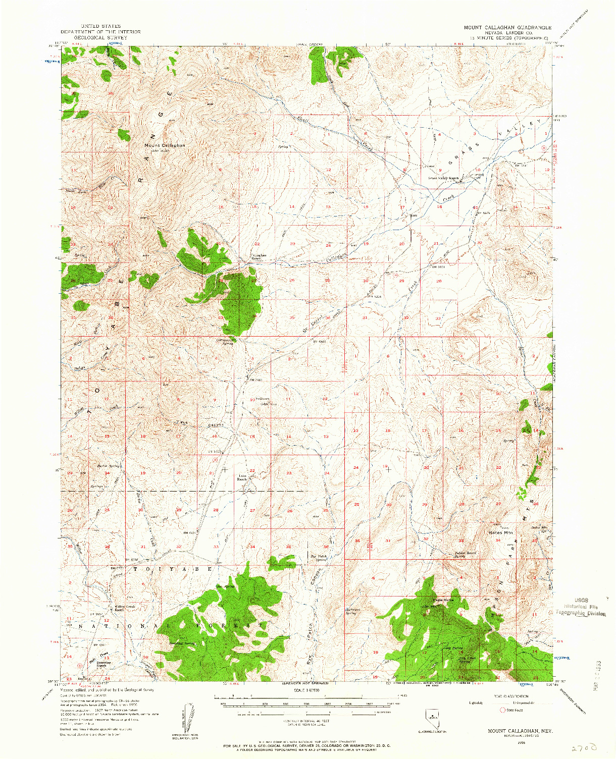 USGS 1:62500-SCALE QUADRANGLE FOR MOUNT CALLAGHAN, NV 1956
