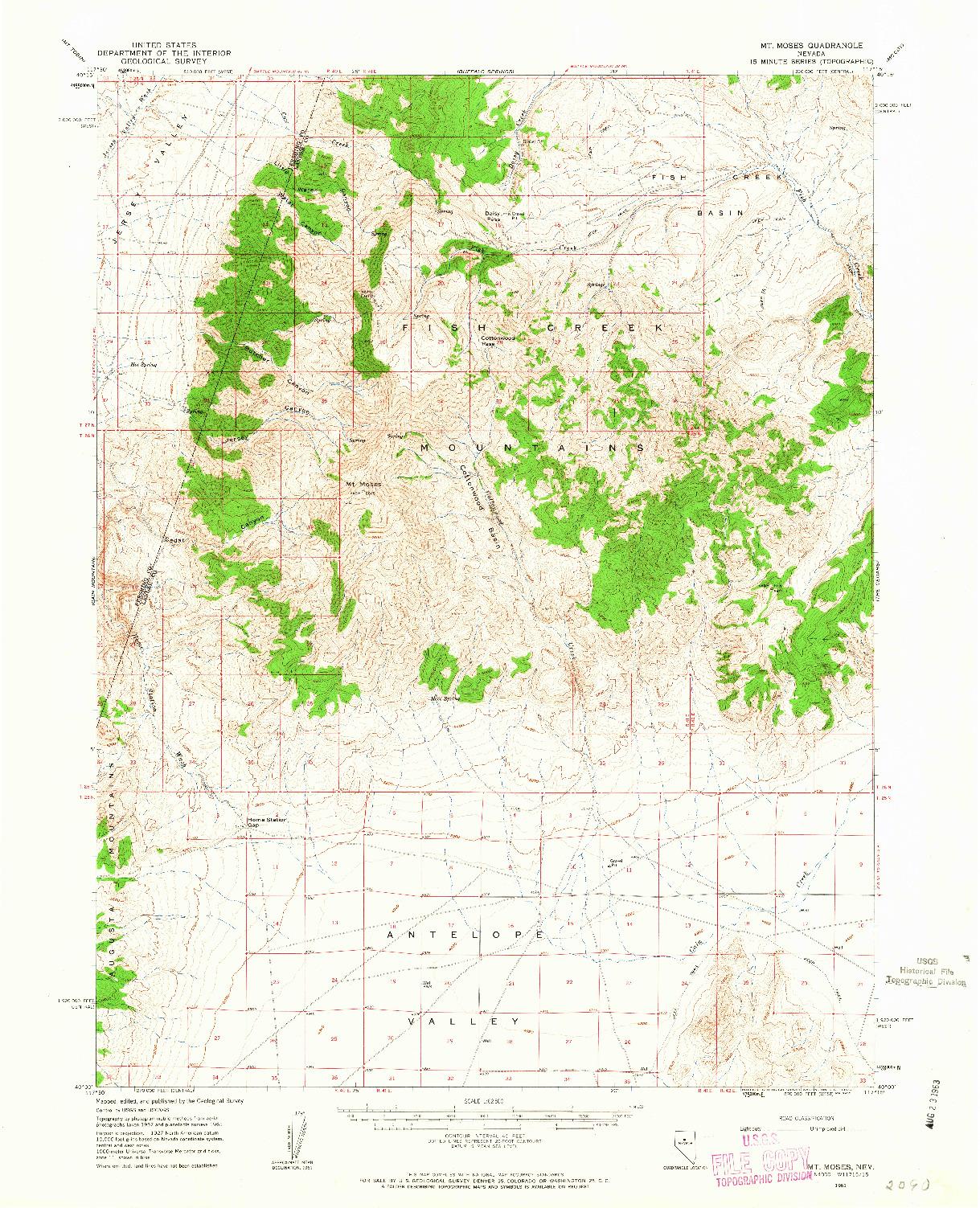 USGS 1:62500-SCALE QUADRANGLE FOR MT. MOSES, NV 1961