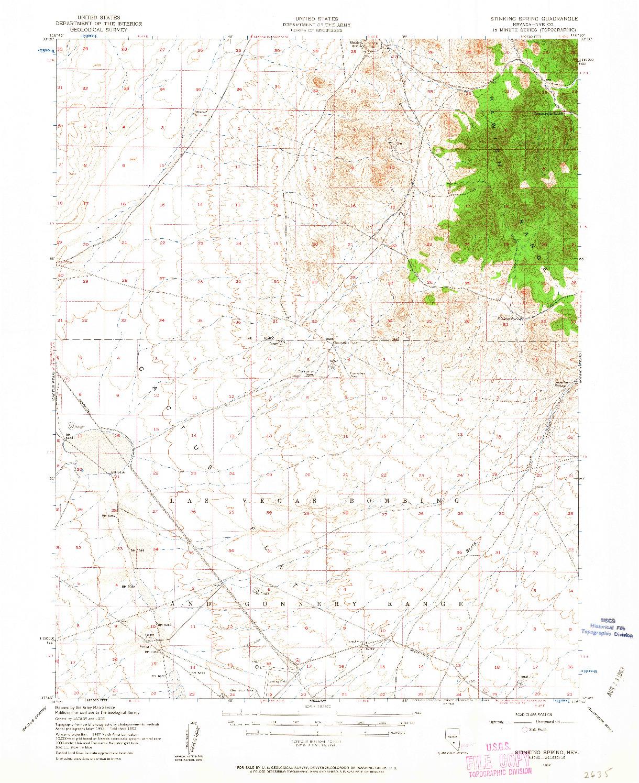 USGS 1:62500-SCALE QUADRANGLE FOR STINKING SPRING, NV 1952