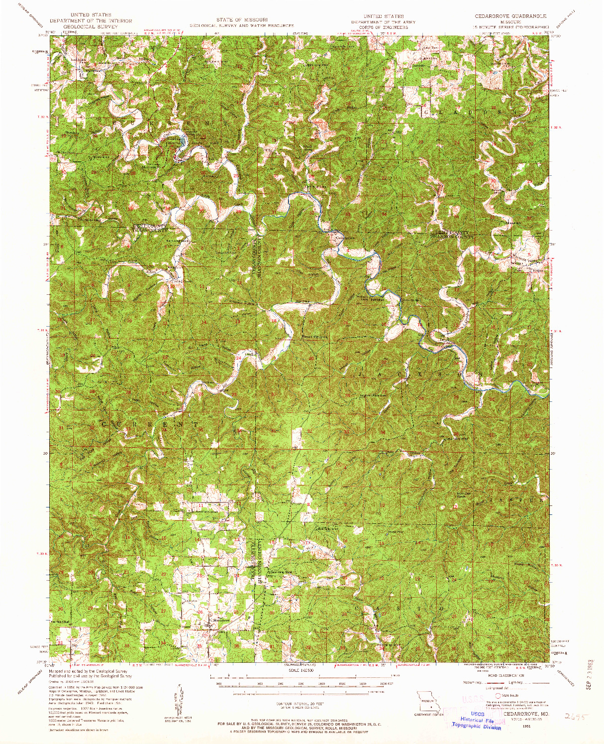USGS 1:62500-SCALE QUADRANGLE FOR CEDARGROVE, MO 1951