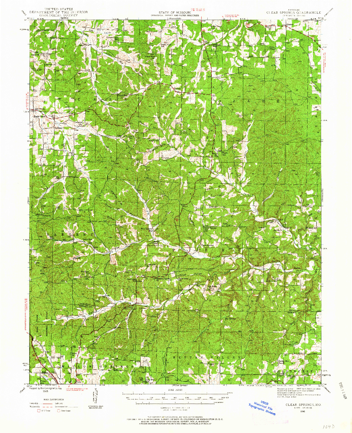 USGS 1:62500-SCALE QUADRANGLE FOR CLEAR SPRINGS, MO 1945