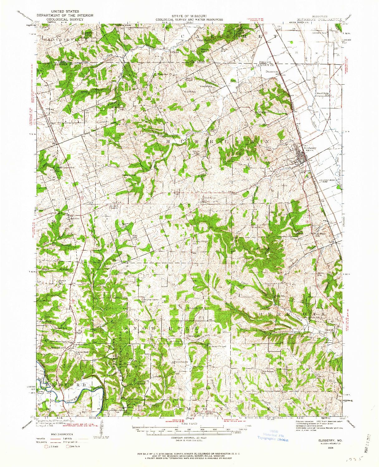 USGS 1:62500-SCALE QUADRANGLE FOR ELSBERRY, MO 1934