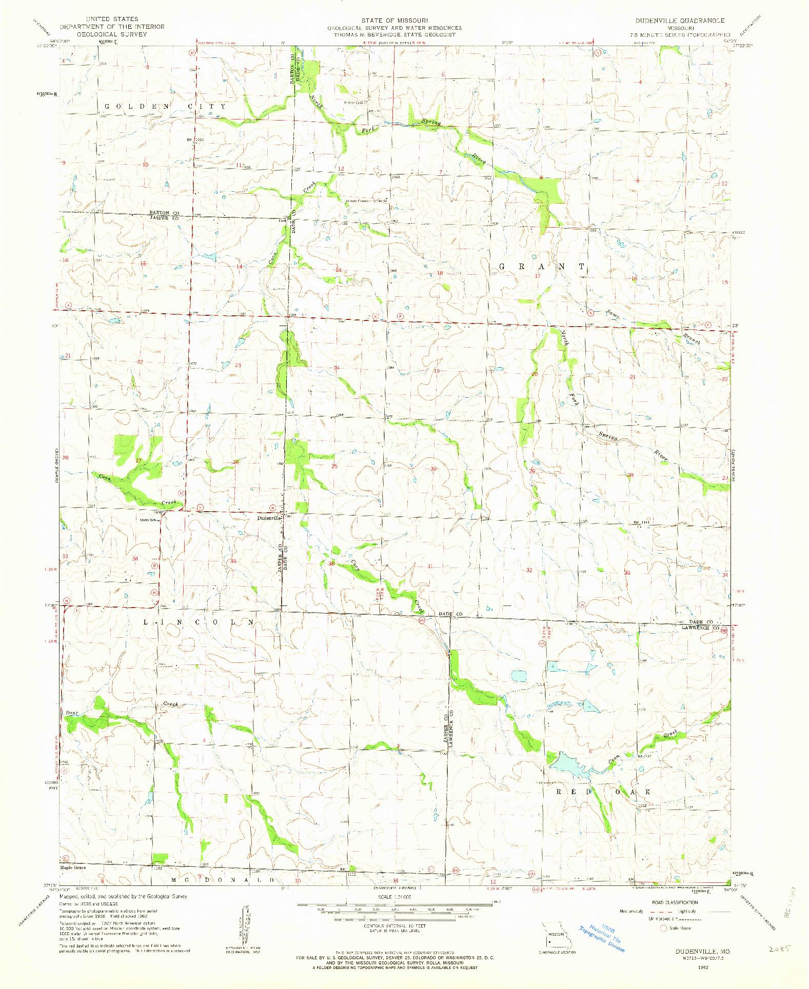 USGS 1:24000-SCALE QUADRANGLE FOR DUDENVILLE, MO 1962
