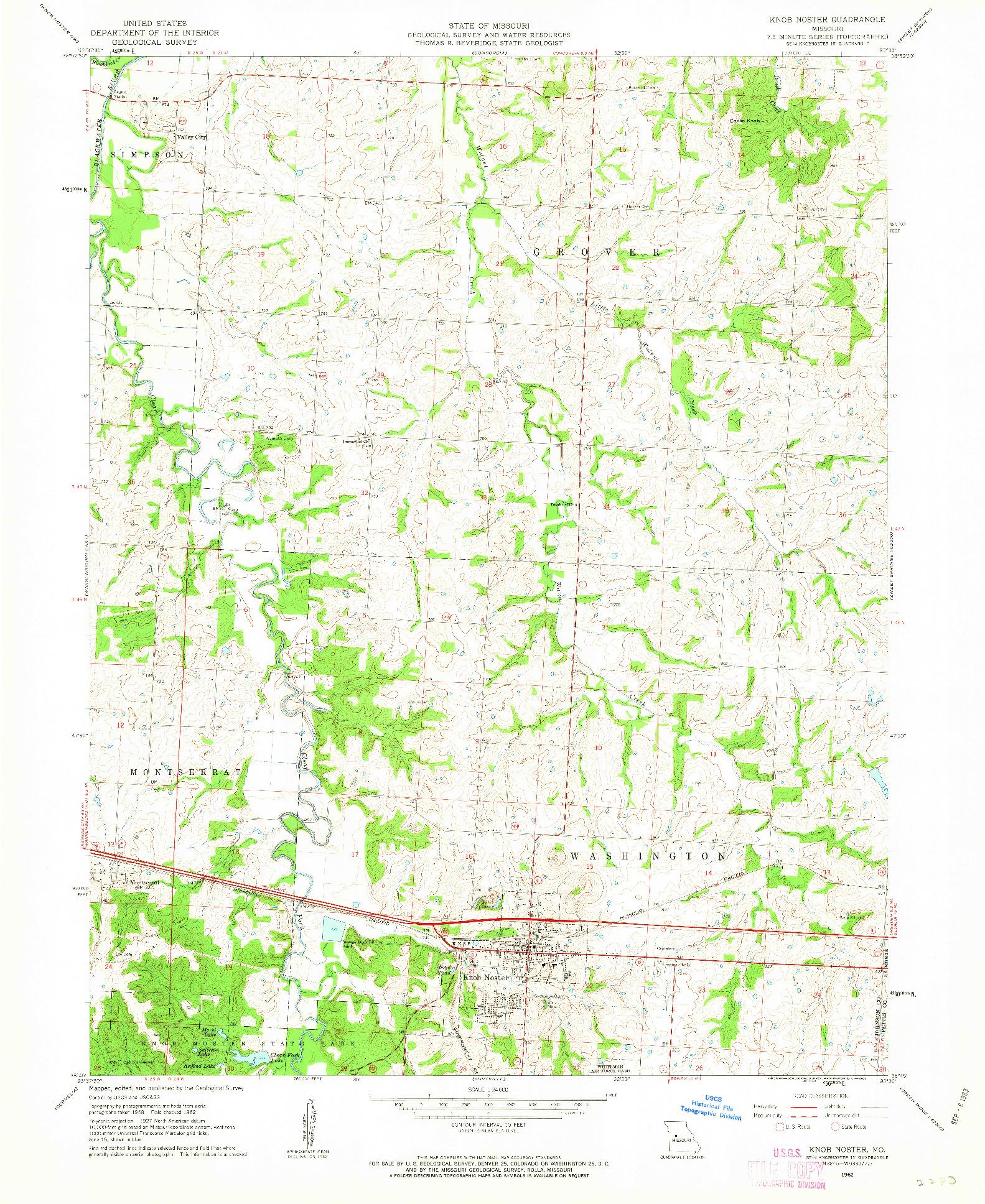 USGS 1:24000-SCALE QUADRANGLE FOR KNOB NOSTER, MO 1962