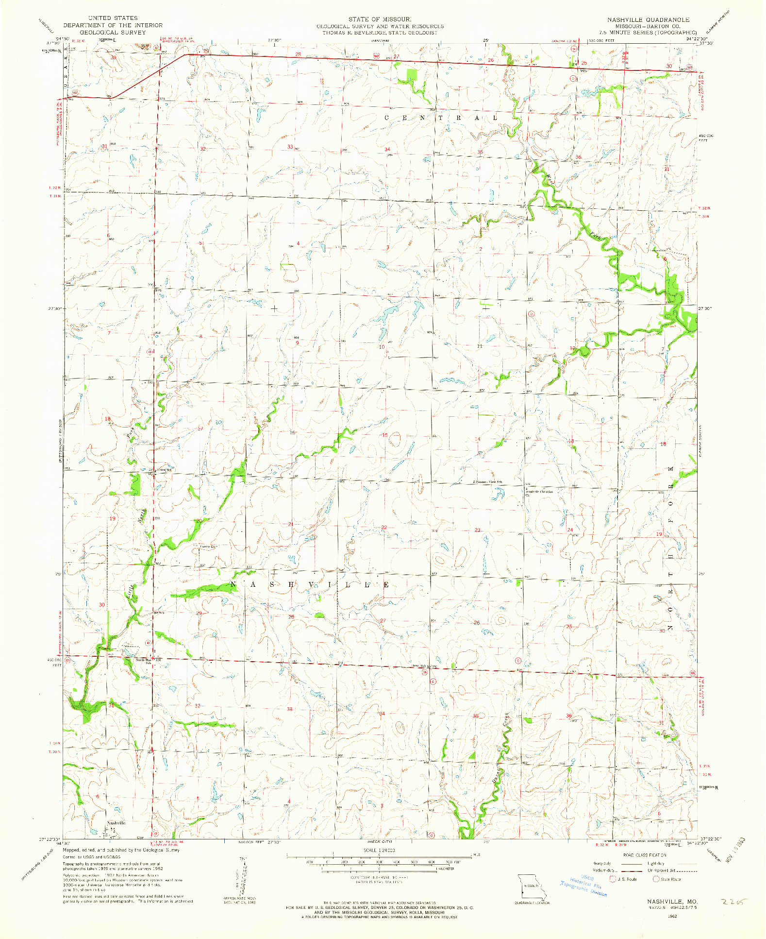 USGS 1:24000-SCALE QUADRANGLE FOR NASHVILLE, MO 1962