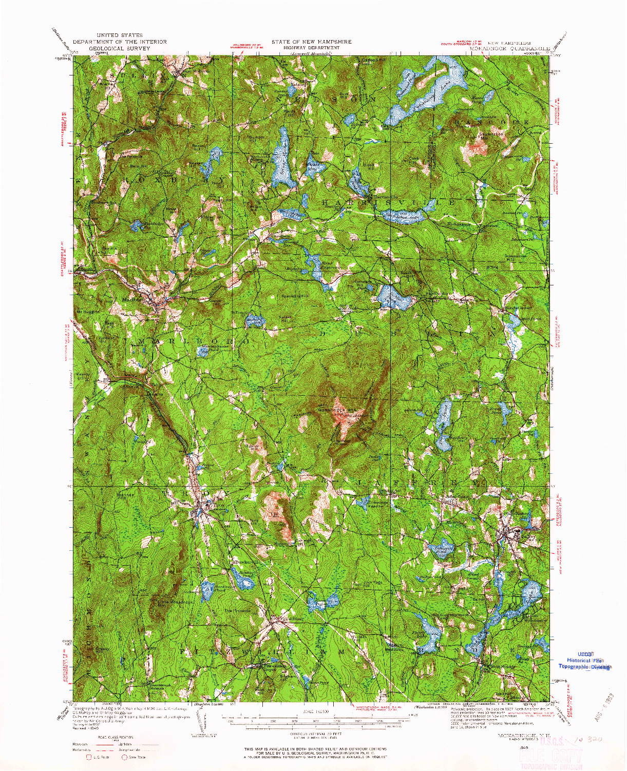 USGS 1:62500-SCALE QUADRANGLE FOR MONADNOCK, NH 1949