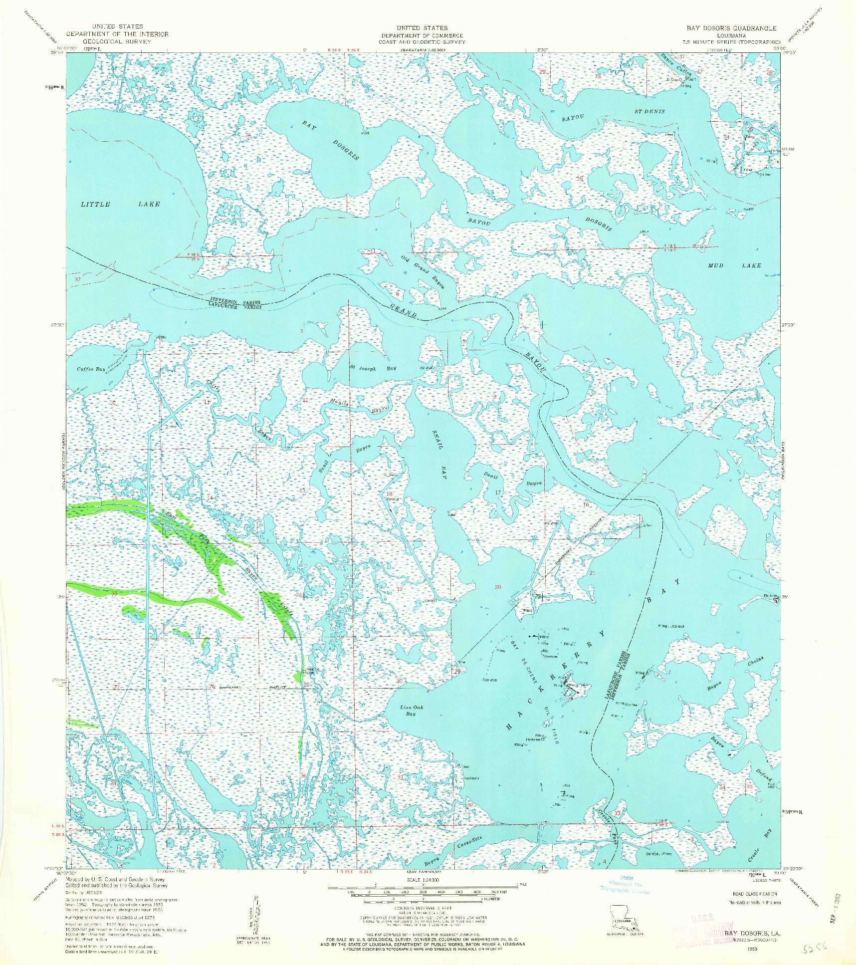 USGS 1:24000-SCALE QUADRANGLE FOR BAY DOSGRIS, LA 1953