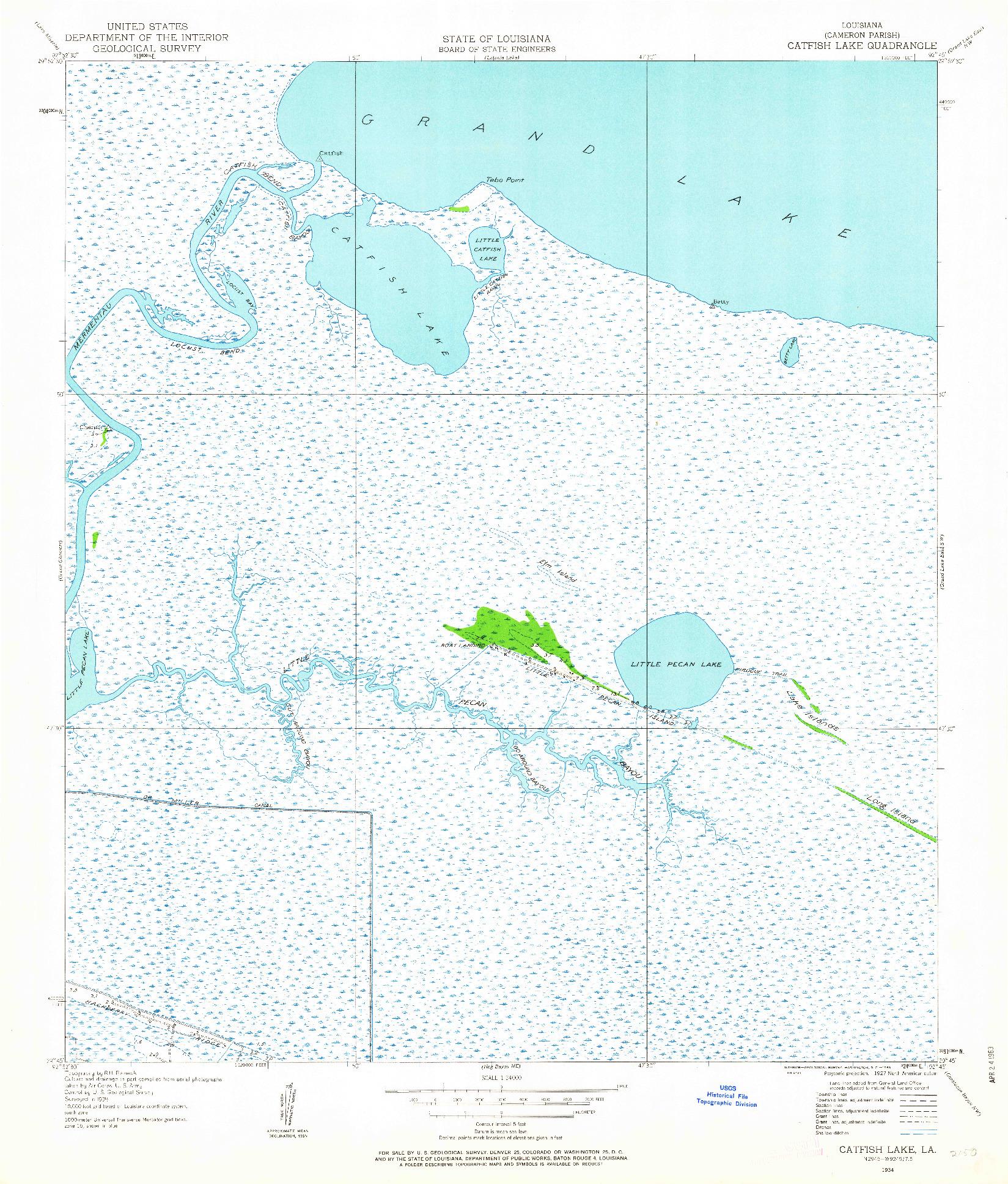 USGS 1:24000-SCALE QUADRANGLE FOR CATFISH LAKE, LA 1934