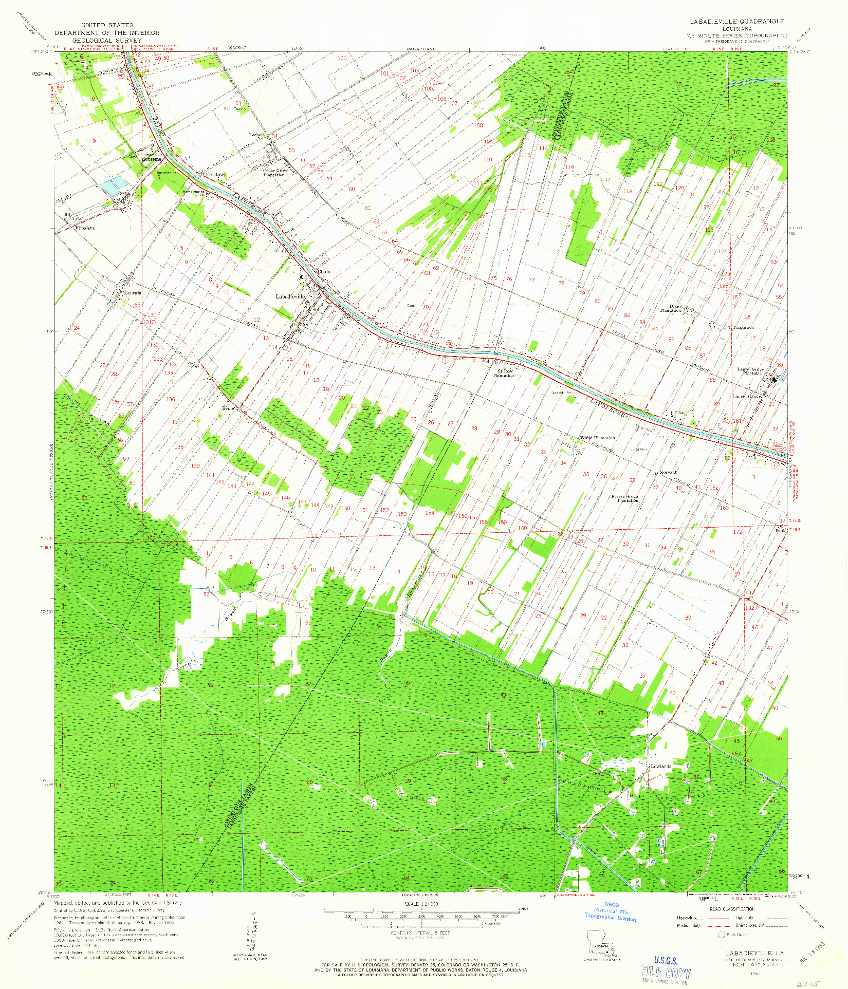 USGS 1:24000-SCALE QUADRANGLE FOR LABADIEVILLE, LA 1962