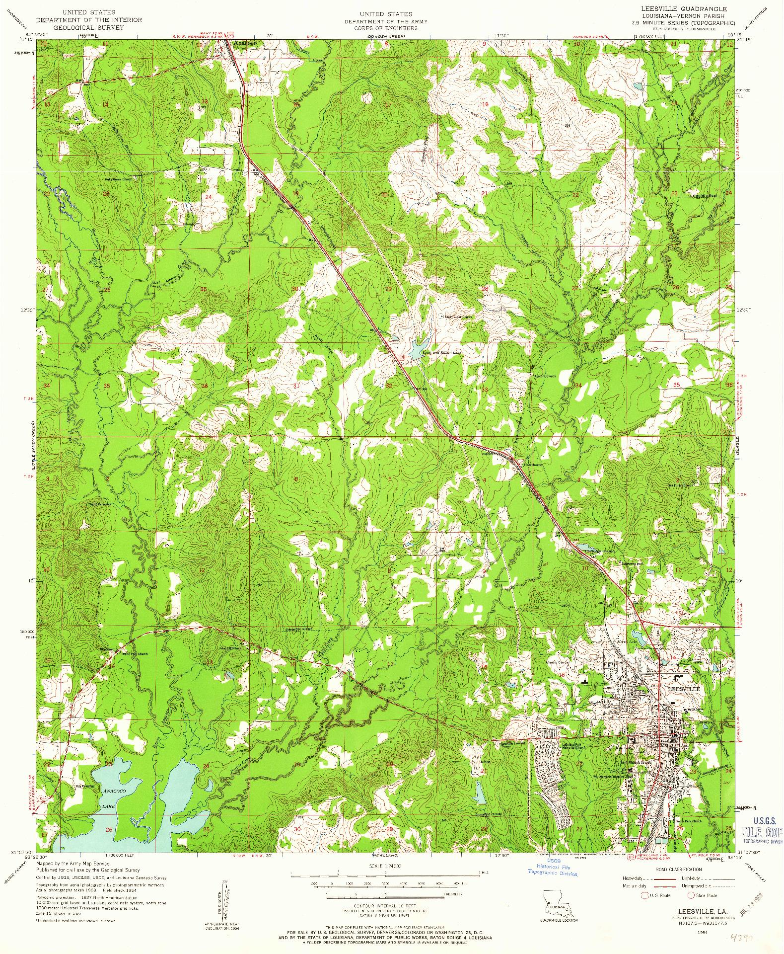 USGS 1:24000-SCALE QUADRANGLE FOR LEESVILLE, LA 1954