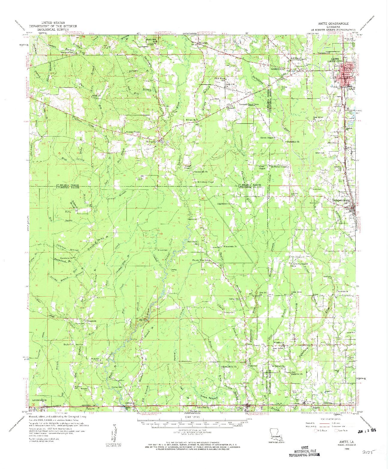USGS 1:62500-SCALE QUADRANGLE FOR AMITE, LA 1959
