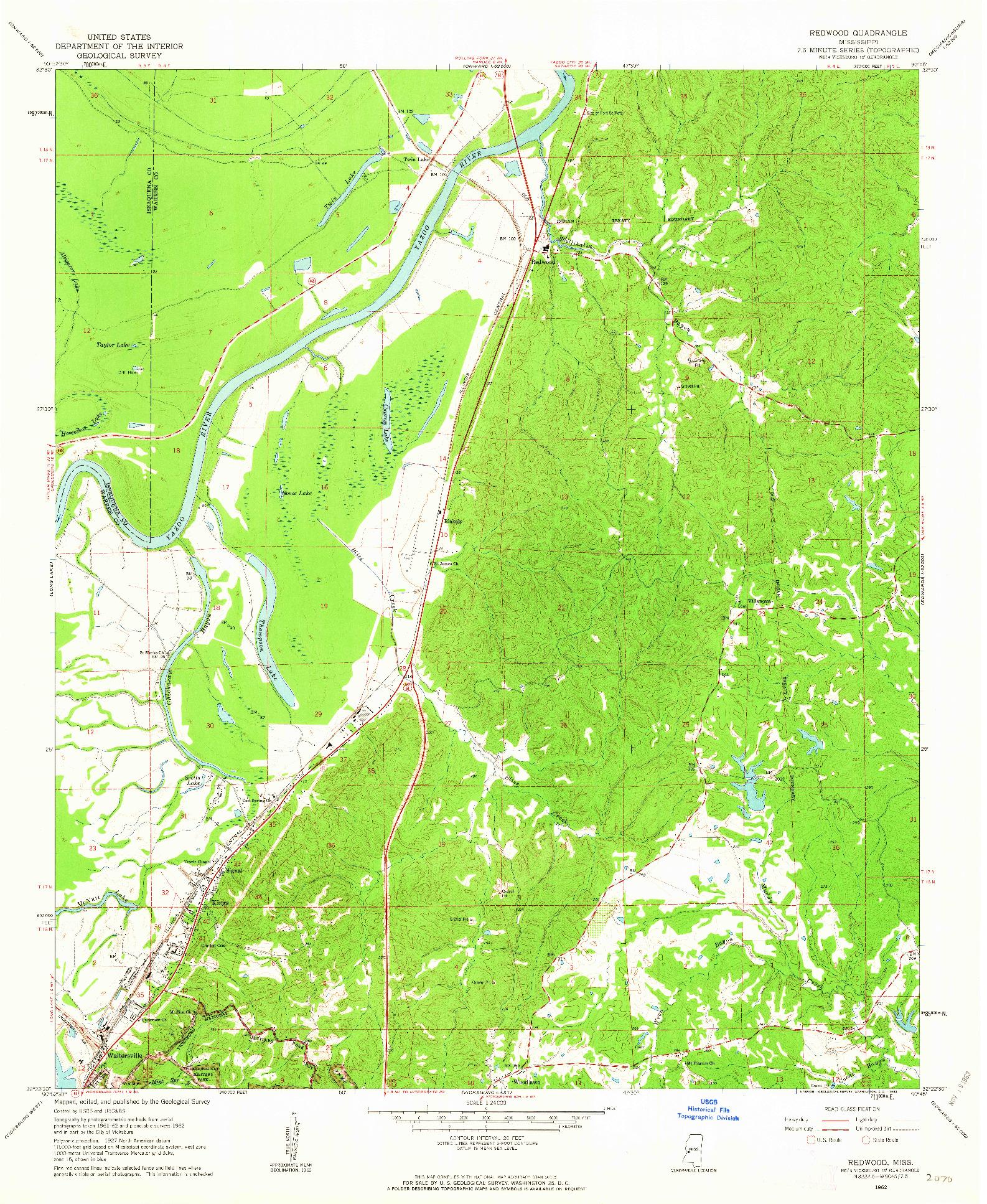 USGS 1:24000-SCALE QUADRANGLE FOR REDWOOD, MS 1962