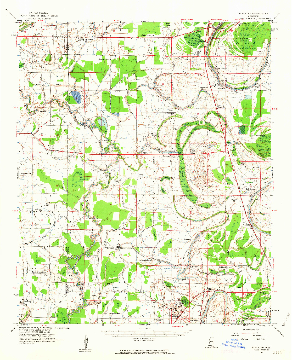 USGS 1:62500-SCALE QUADRANGLE FOR SCHLATER, MS 1961