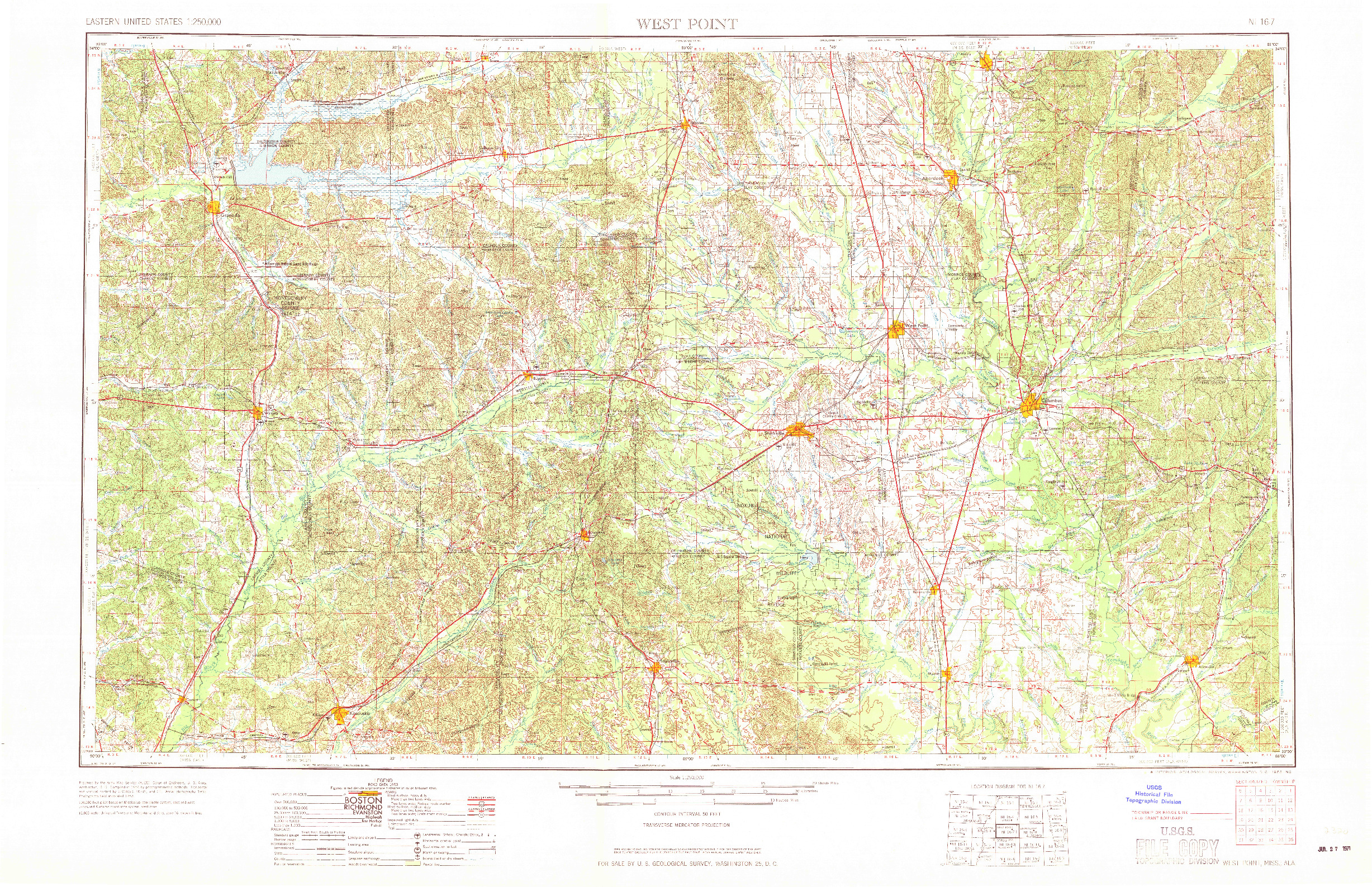 USGS 1:250000-SCALE QUADRANGLE FOR WEST POINT, MS 1963