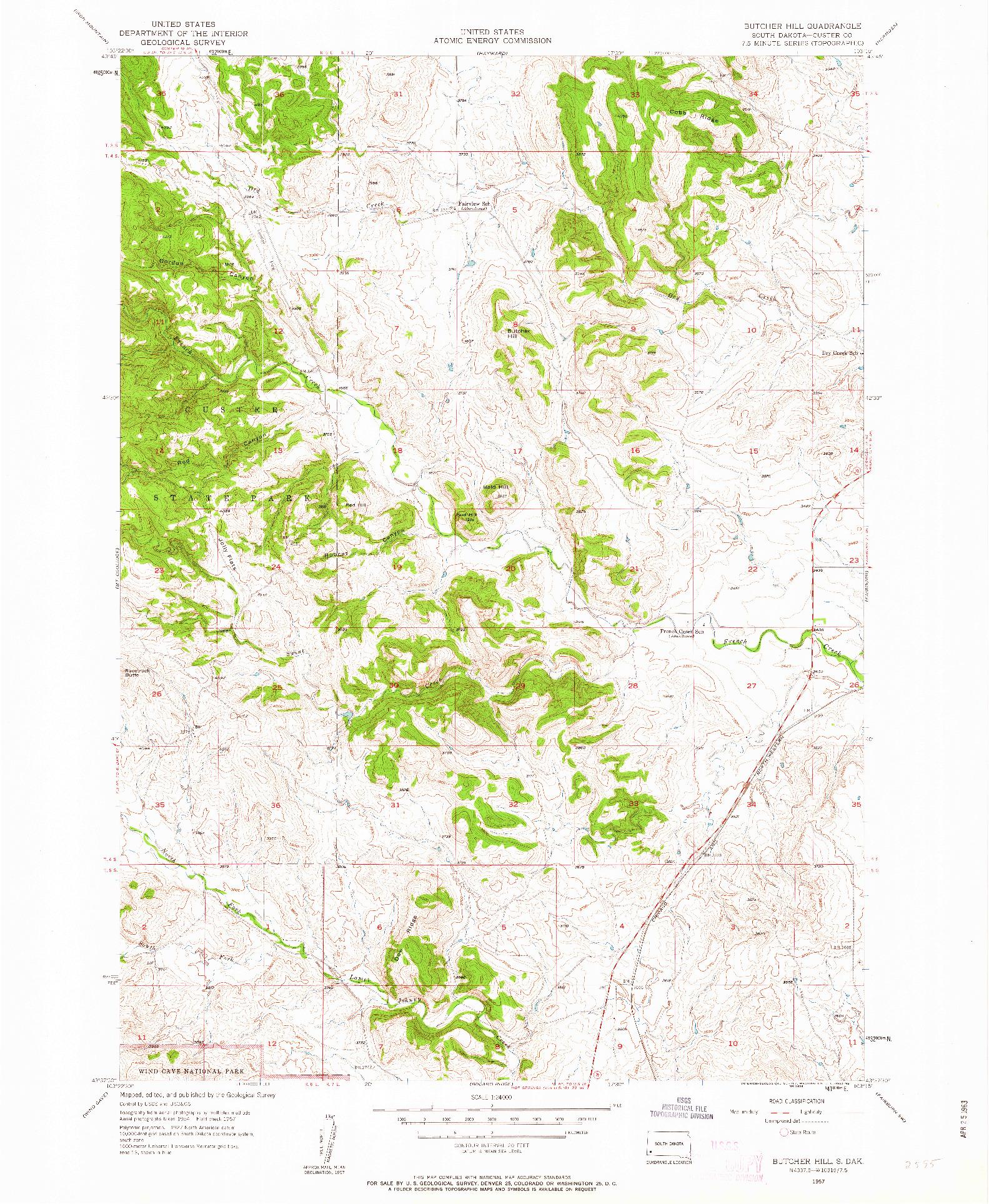 USGS 1:24000-SCALE QUADRANGLE FOR BUTCHER HILL, SD 1957