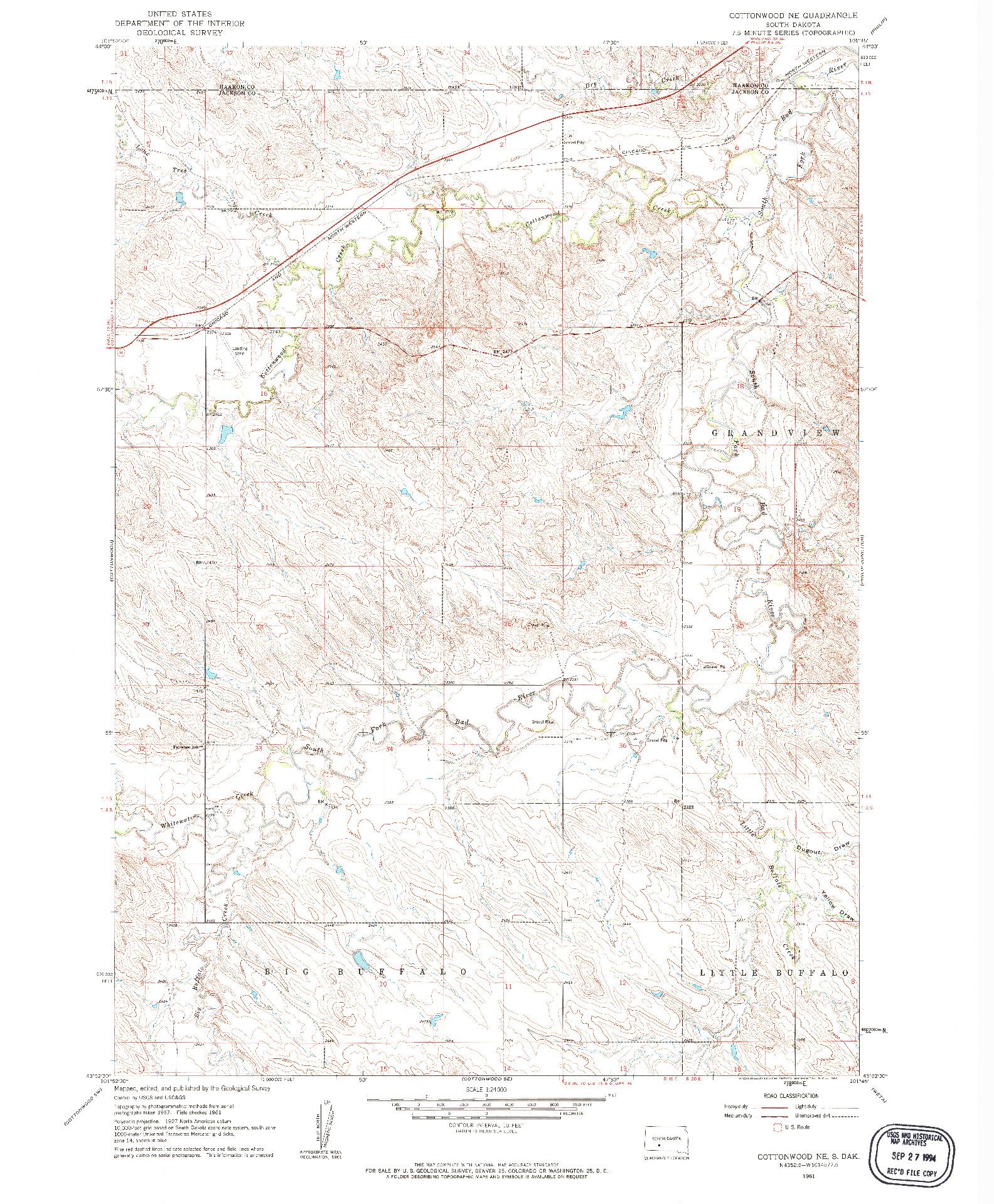 USGS 1:24000-SCALE QUADRANGLE FOR COTTONWOOD NE, SD 1961