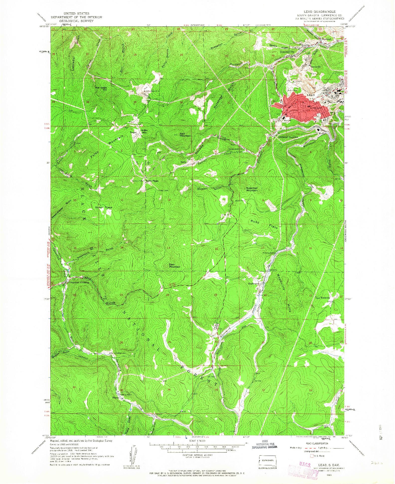 USGS 1:24000-SCALE QUADRANGLE FOR LEAD, SD 1961