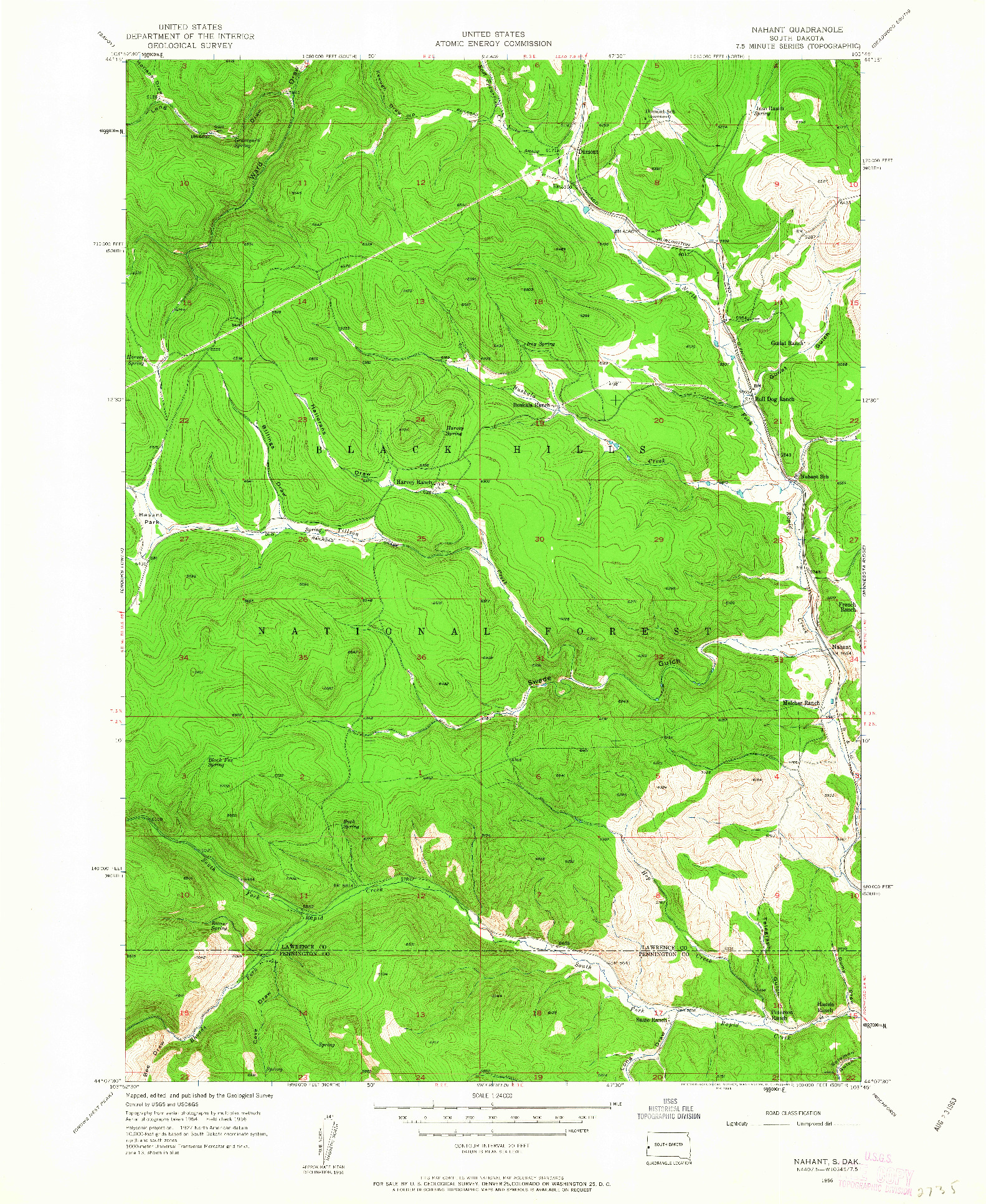USGS 1:24000-SCALE QUADRANGLE FOR NAHANT, SD 1956