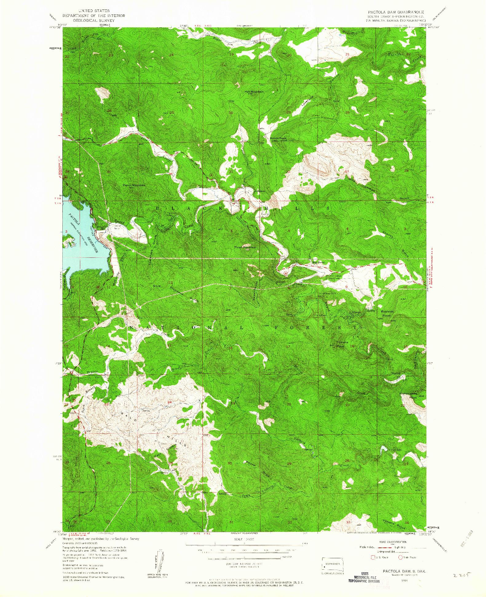 USGS 1:24000-SCALE QUADRANGLE FOR PACTOLA DAM, SD 1954