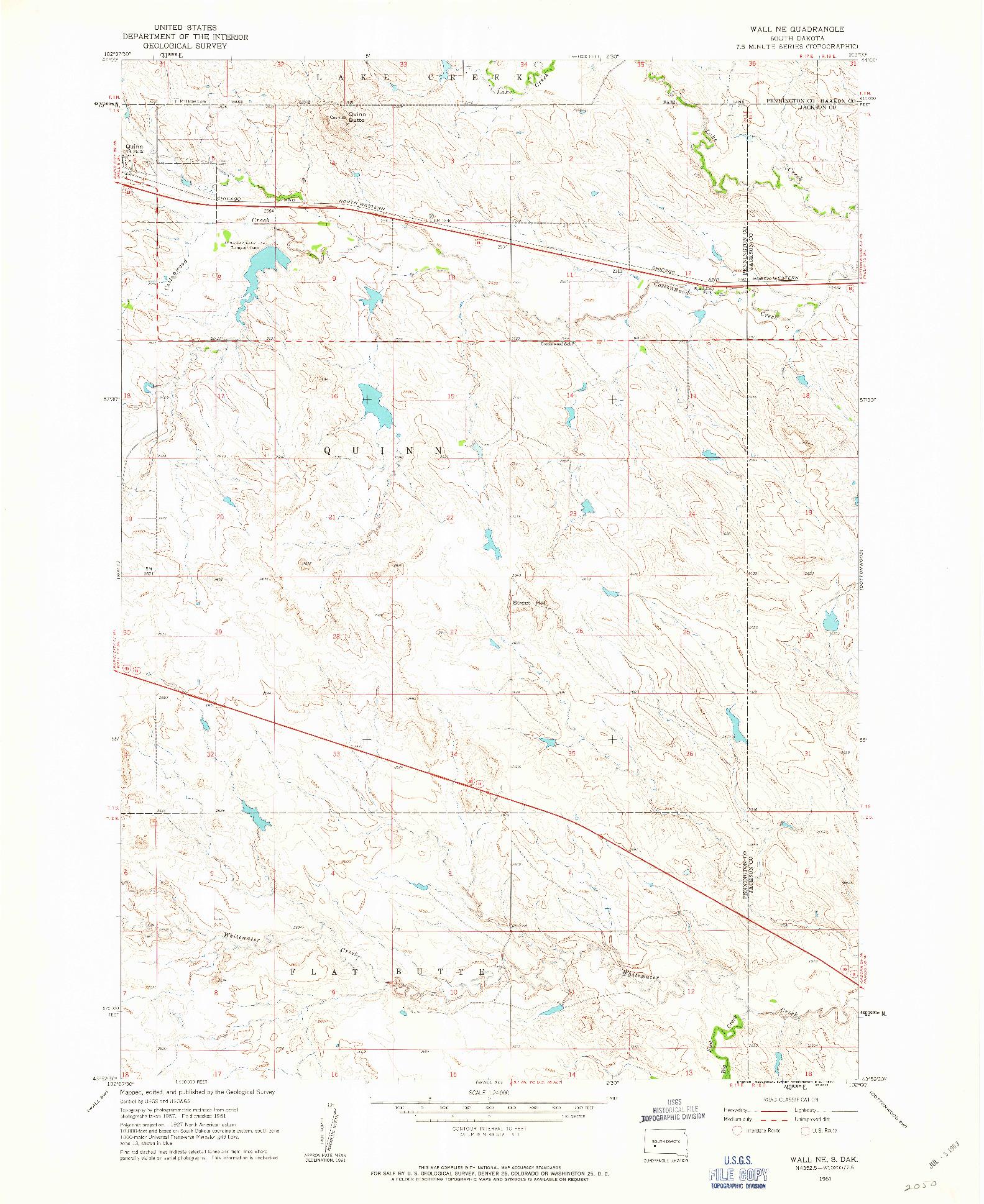 USGS 1:24000-SCALE QUADRANGLE FOR WALL NE, SD 1961