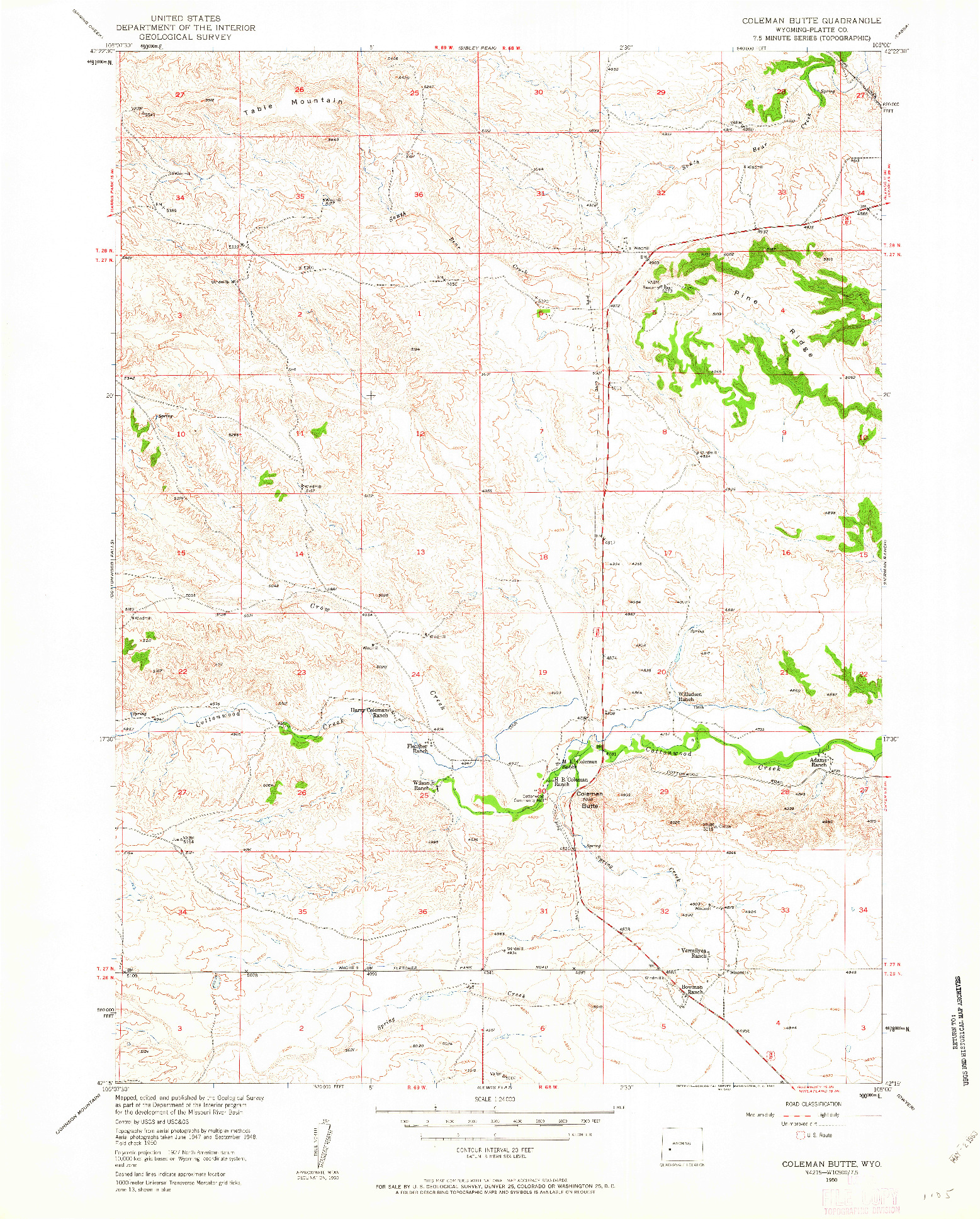 USGS 1:24000-SCALE QUADRANGLE FOR COLEMAN BUTTE, WY 1950