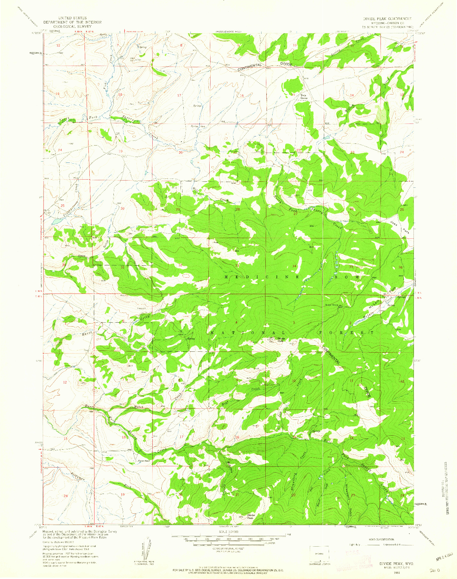 USGS 1:24000-SCALE QUADRANGLE FOR DIVIDE PEAK, WY 1961