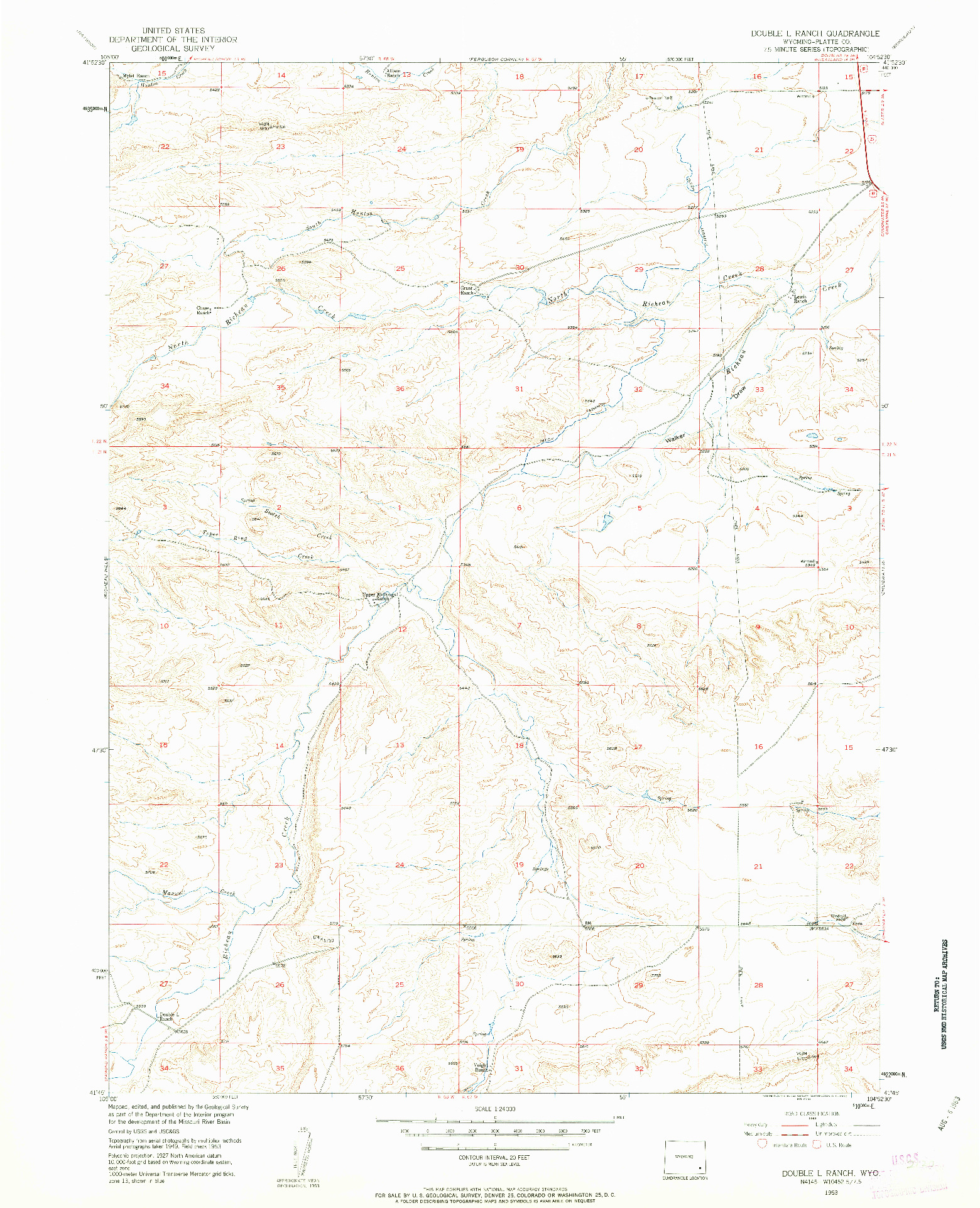 USGS 1:24000-SCALE QUADRANGLE FOR DOUBLE L RANCH, WY 1953