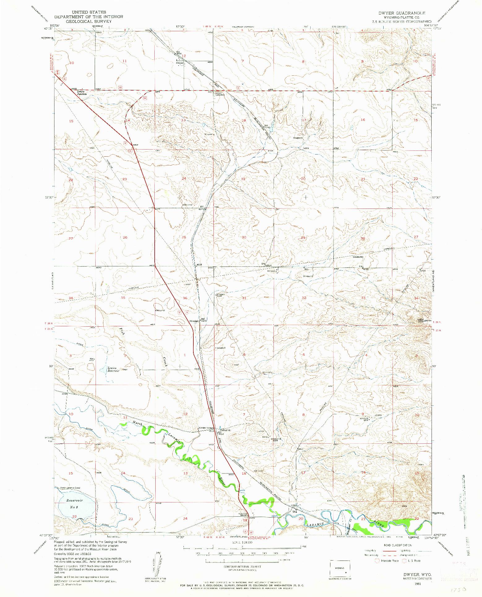 USGS 1:24000-SCALE QUADRANGLE FOR DWYER, WY 1951