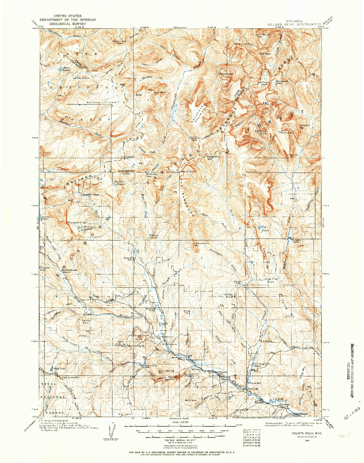 USGS 1:125000-SCALE QUADRANGLE FOR YOUNTS PEAK, WY 1905