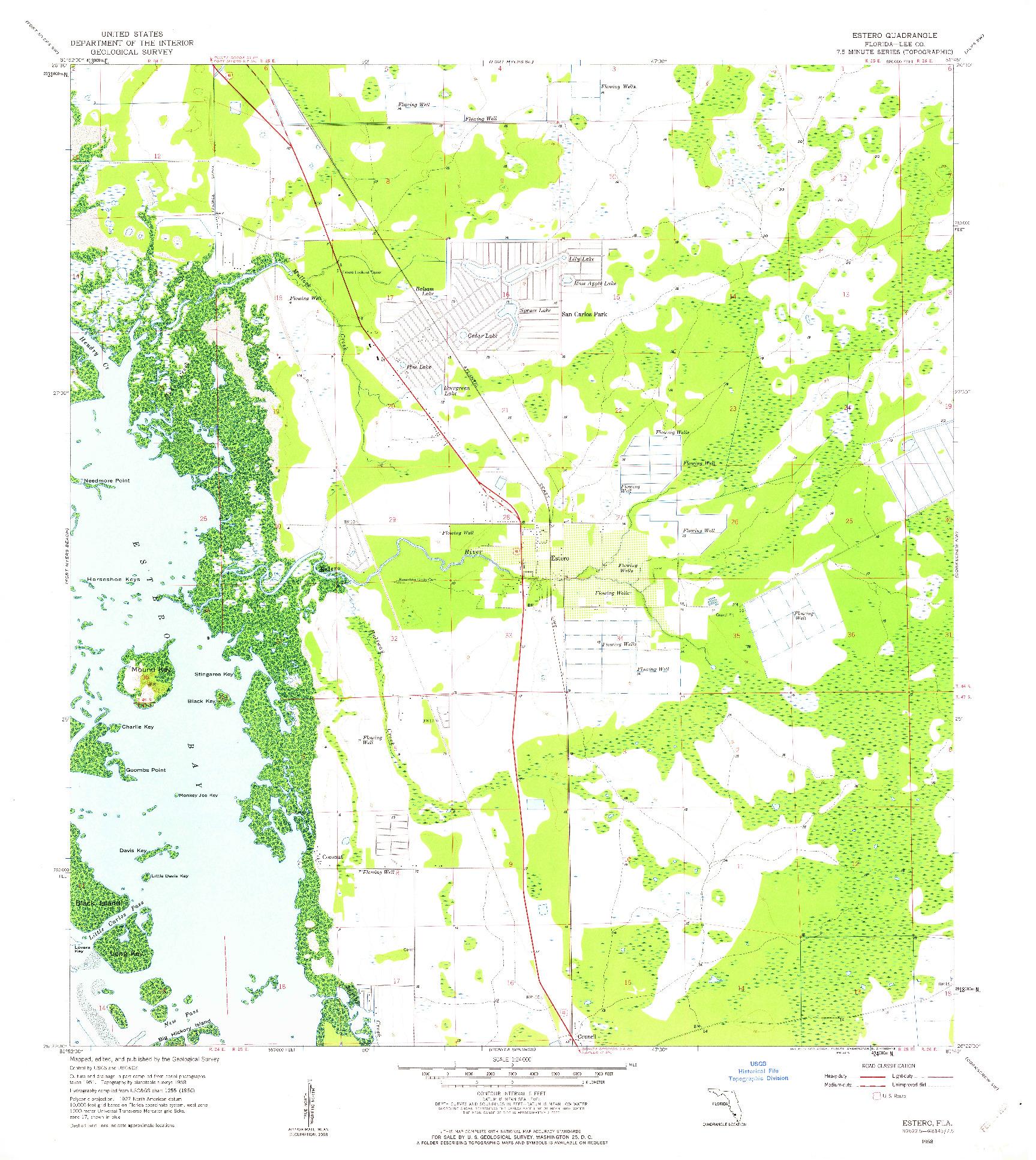 USGS 1:24000-SCALE QUADRANGLE FOR ESTERO, FL 1958
