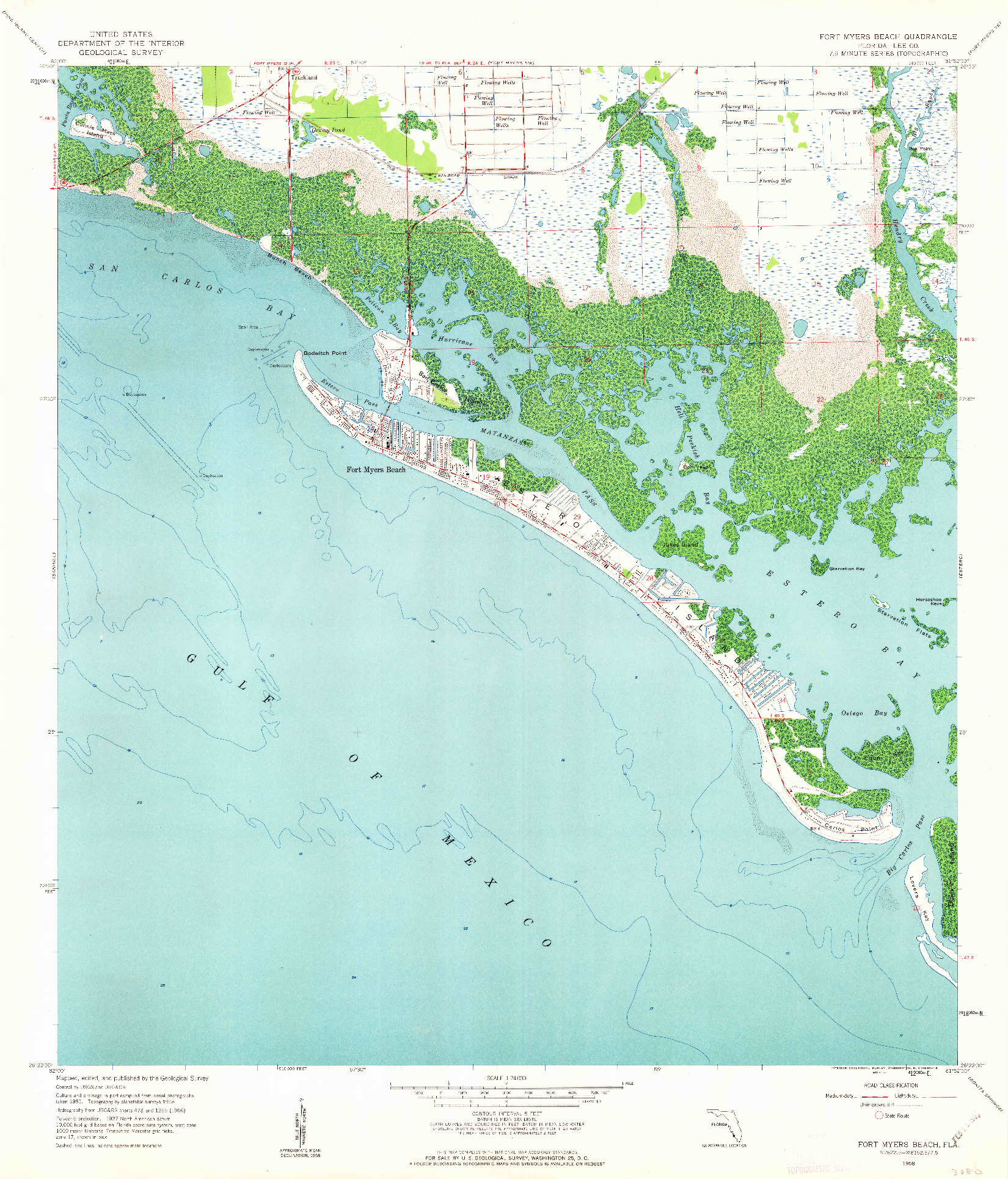 USGS 1:24000-SCALE QUADRANGLE FOR FORT MYERS BEACH, FL 1958