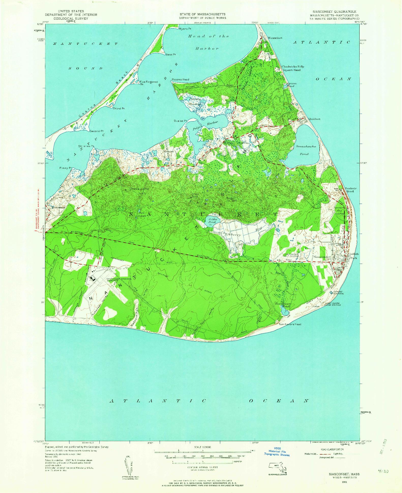 USGS 1:24000-SCALE QUADRANGLE FOR SIASCONSET, MA 1951