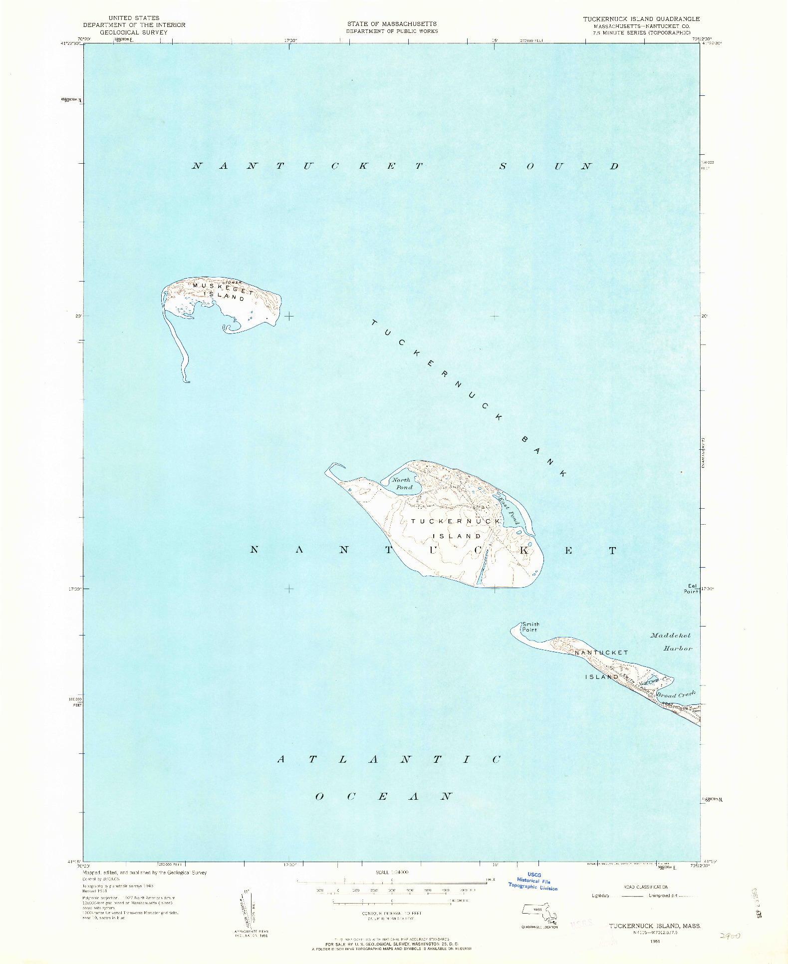USGS 1:24000-SCALE QUADRANGLE FOR TUCKERNUCK ISLAND, MA 1951